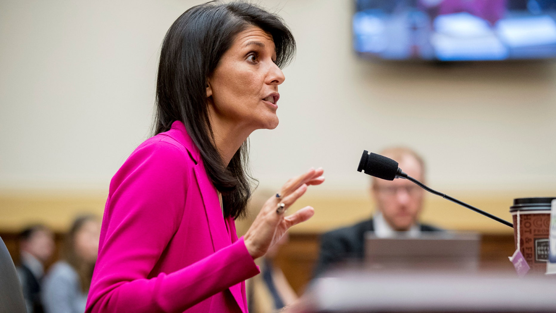 U.S. Ambassador to the UN Nikki Haley testifies on Capitol Hill in Washington, Wednesday, June 28, 2017, before the House Foreign Affairs Committee hearing: 'Advancing U.S. Interests at the United Nations'.