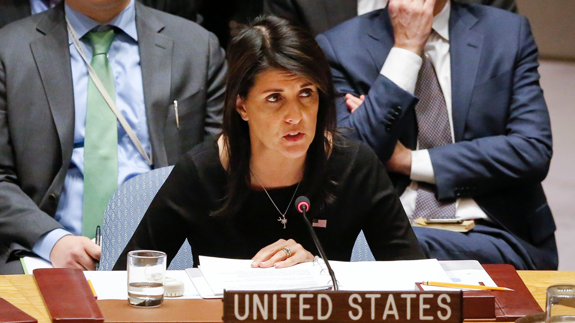 United Nations U.S. Ambassador Nikki Haley address a U.N. Security Council meeting on non-proliferation of weapons of mass destruction, Thursday Jan. 18, 2018 at U.N. headquarters. (AP Photo/Bebeto Matthews)