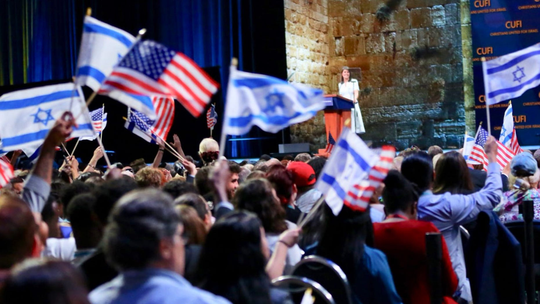 "U.S. Ambassador to the U.N. Nikki Haley received the ""Defender of Israel Award"" Monday night at the 13th annual Christians United for Israel D.C. summit."