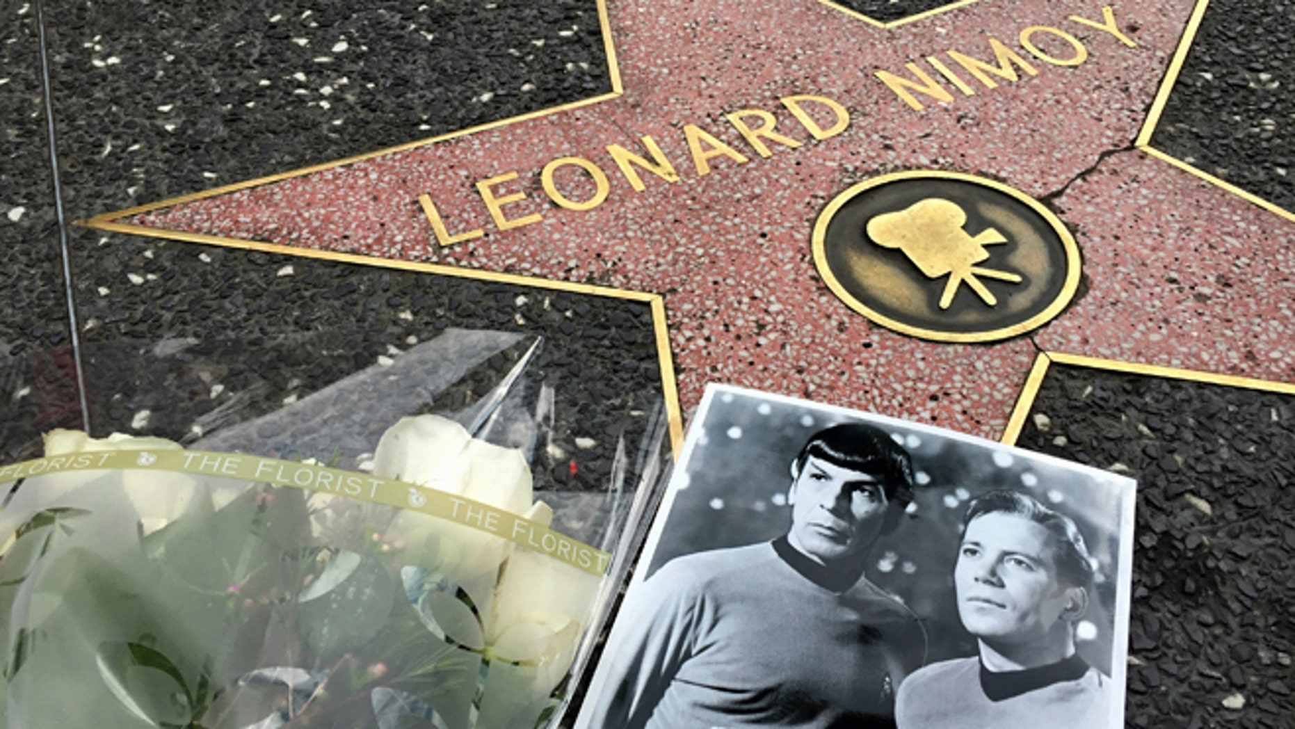 Feb 27, 2015. Flowers adorn the Hollywood Walk of Fame star of Leonard Nimoy in Los Angeles.