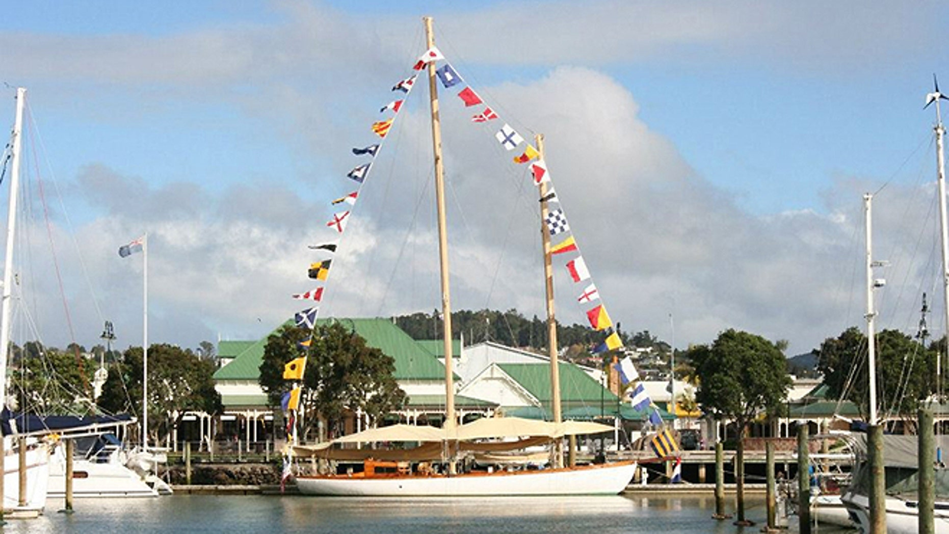 In this undated photo provided by Maritime New Zealand the yacht Nina, center, is tied at dock at a unidentified location. (AP/Maritime New Zealand)