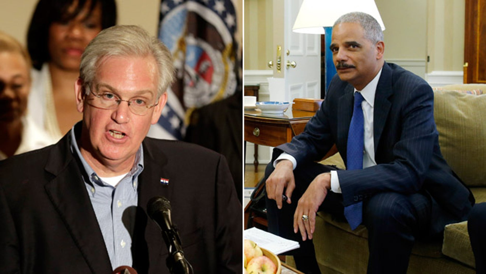 Missouri Gov. Jay Nixon speaks at a news conference, Saturday, Aug. 16, 2014, in Ferguson, Mo. and Attorney General Eric Holder in the Oval Office of the White House in Washington on Monday, Aug. 18, 2014.