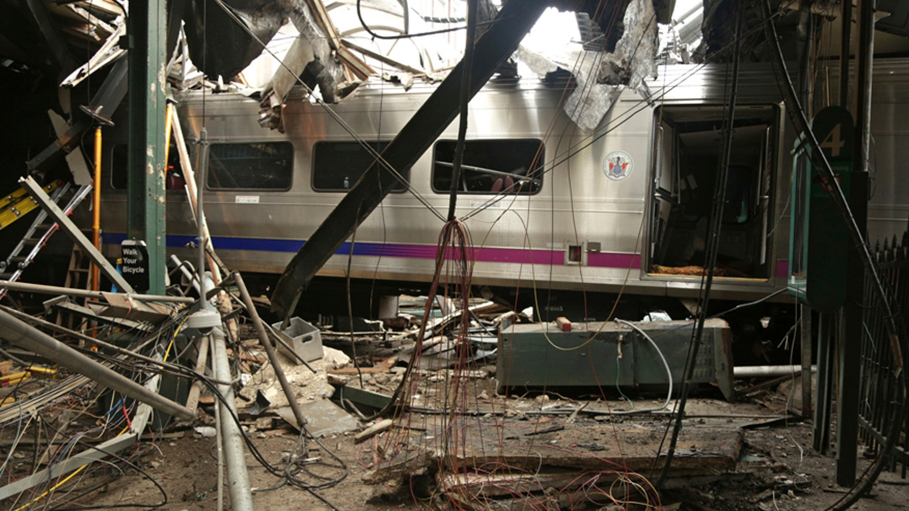 Oct. 1, 2016: Damage done to the Hoboken Terminal in Hoboken, N.J., after a commuter train crash.