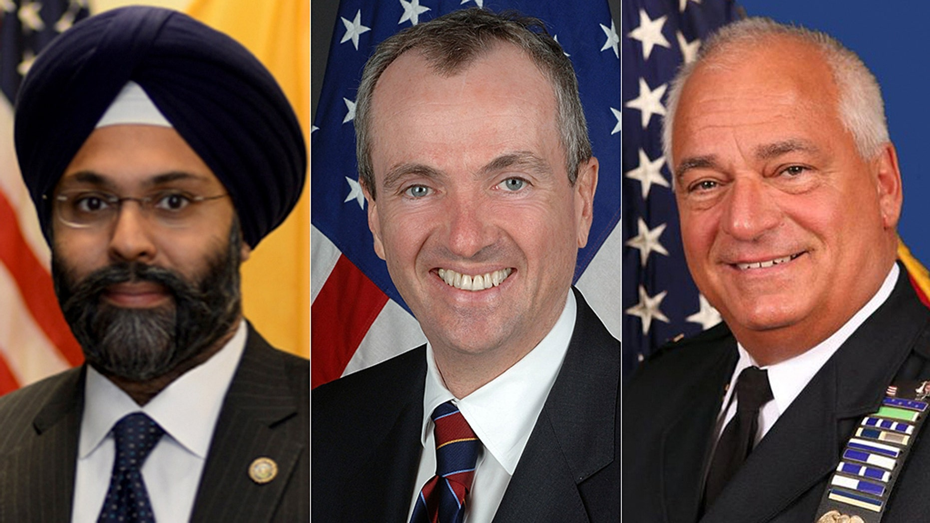 New Jersey Governor Phil Murphy, center, called on Bergen County Sheriff Michael Saudino, right, to resign following his comments about African Americans and Attorney General Gurbir Grewal, left.