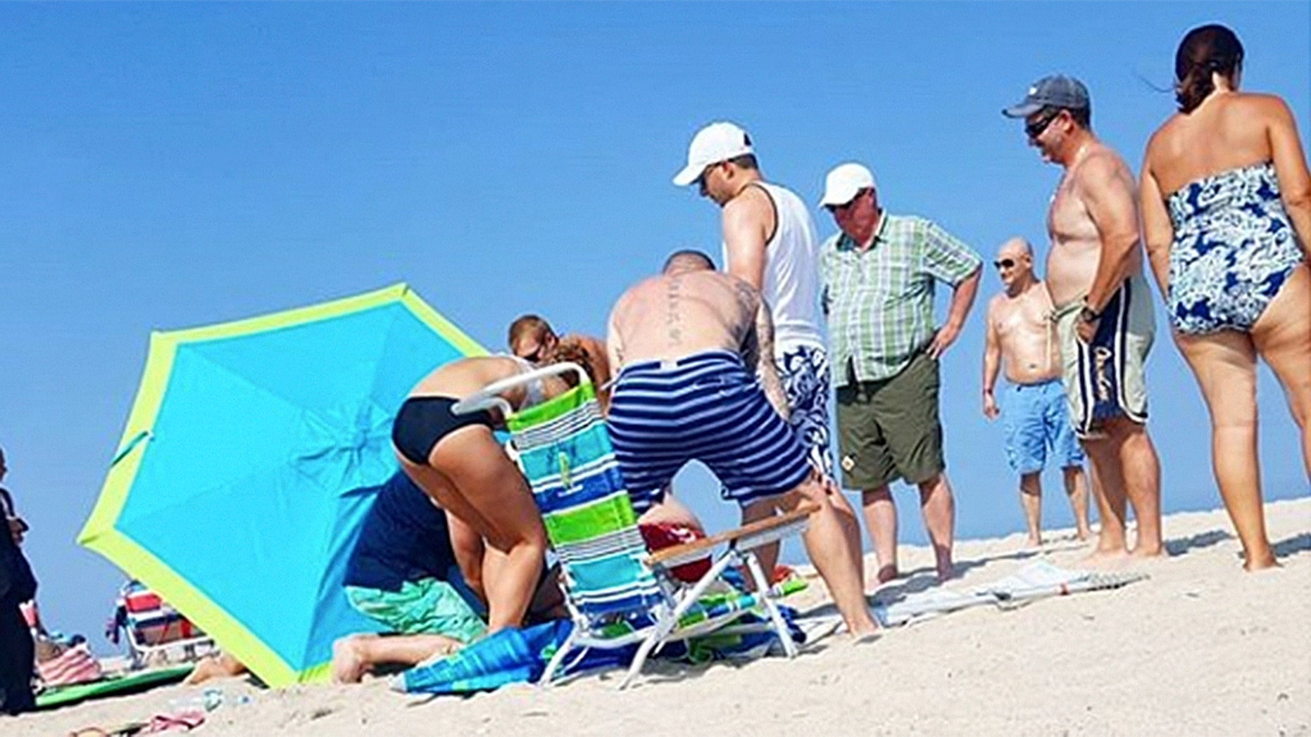 A woman was seriously injured when she was impaled by a beach umbrella on the Jersey Shore on Monday, officials said.