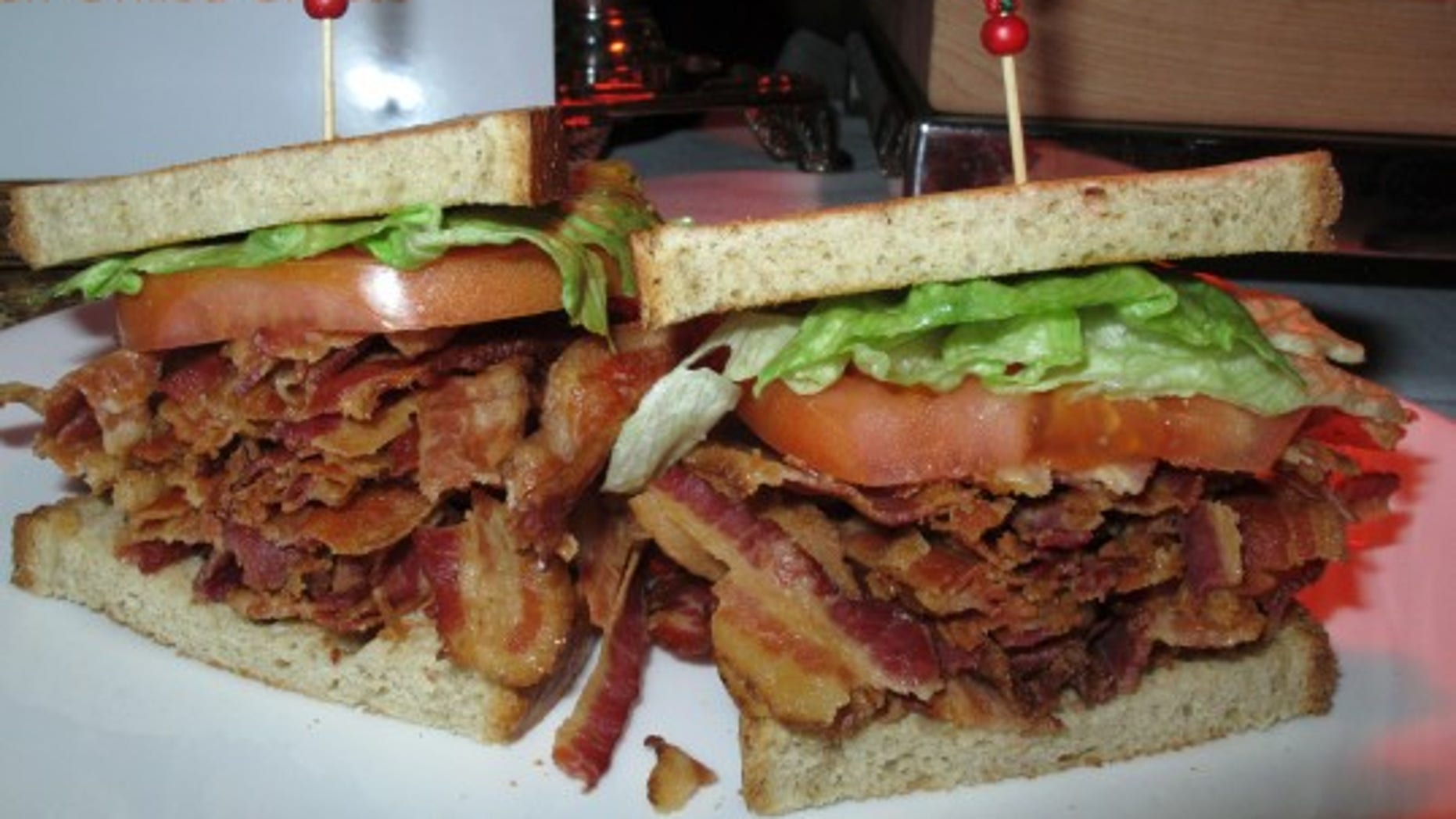 A bacon-lettuce-and-tomato sandwich made with an entire pound of bacon.