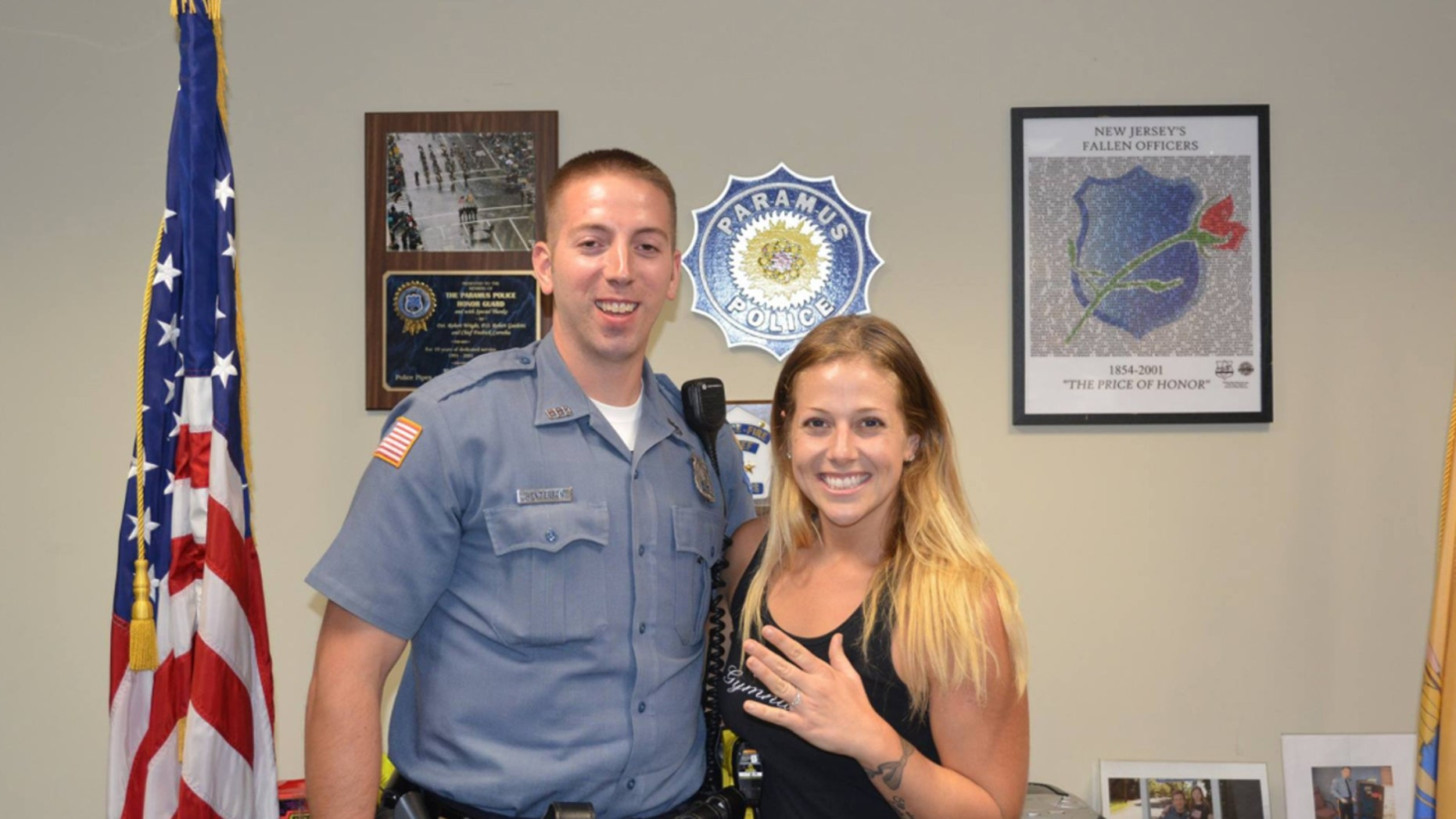 Paramus Officer Jon Henderson helped find Kimberly Garcia's lost diamond engagement ring on the side of a highway.