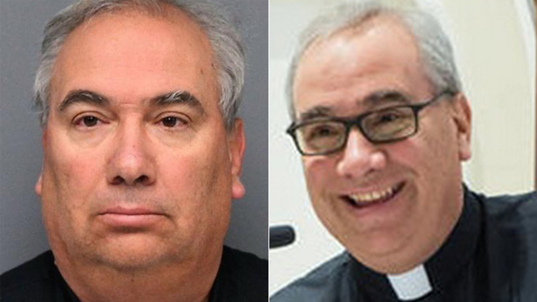 The Rev. Kevin Carter in his Little Ferry Police Department mugshot, and in a happier time, sporting his clerical collar.