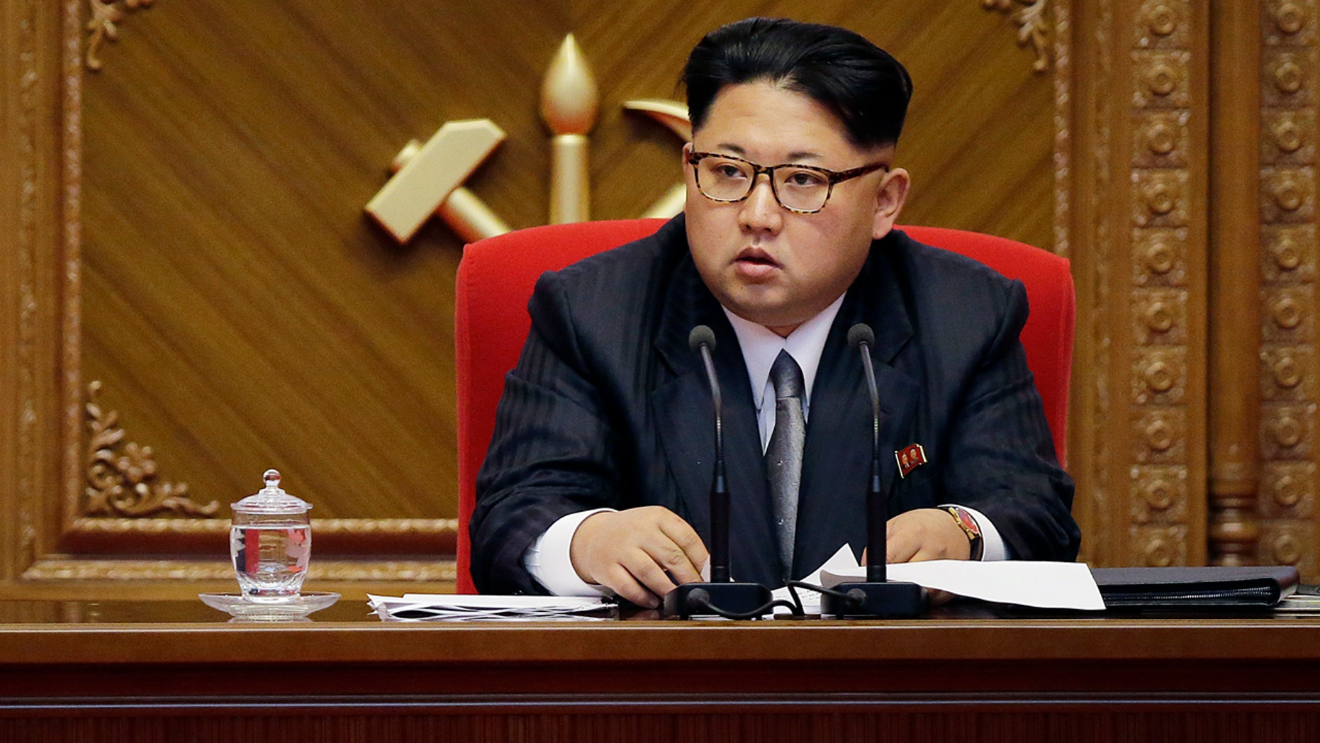 May 9, 2016:  North Korean leader Kim Jong Un listens during the ruling Workers' Party congress in Pyongyang