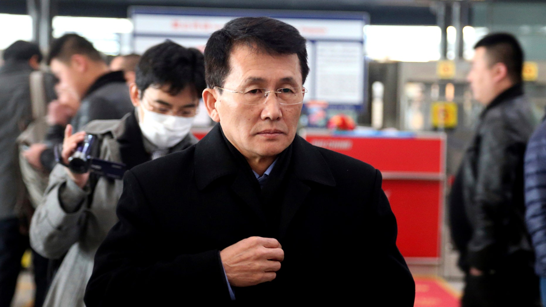 Choe Kang Il, a senior North Korean diplomat handling North American affairs, is seen at the Beijing Capital International Airport in Beijing, March 18, 2018.