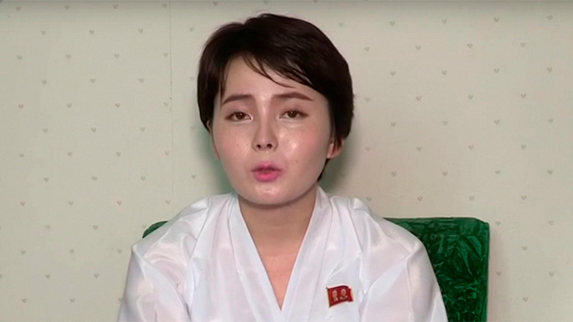 Lim Ji-hyun, 26, appeared in the video posted on YouTube this week. (Uriminzokkiri/YouTube)