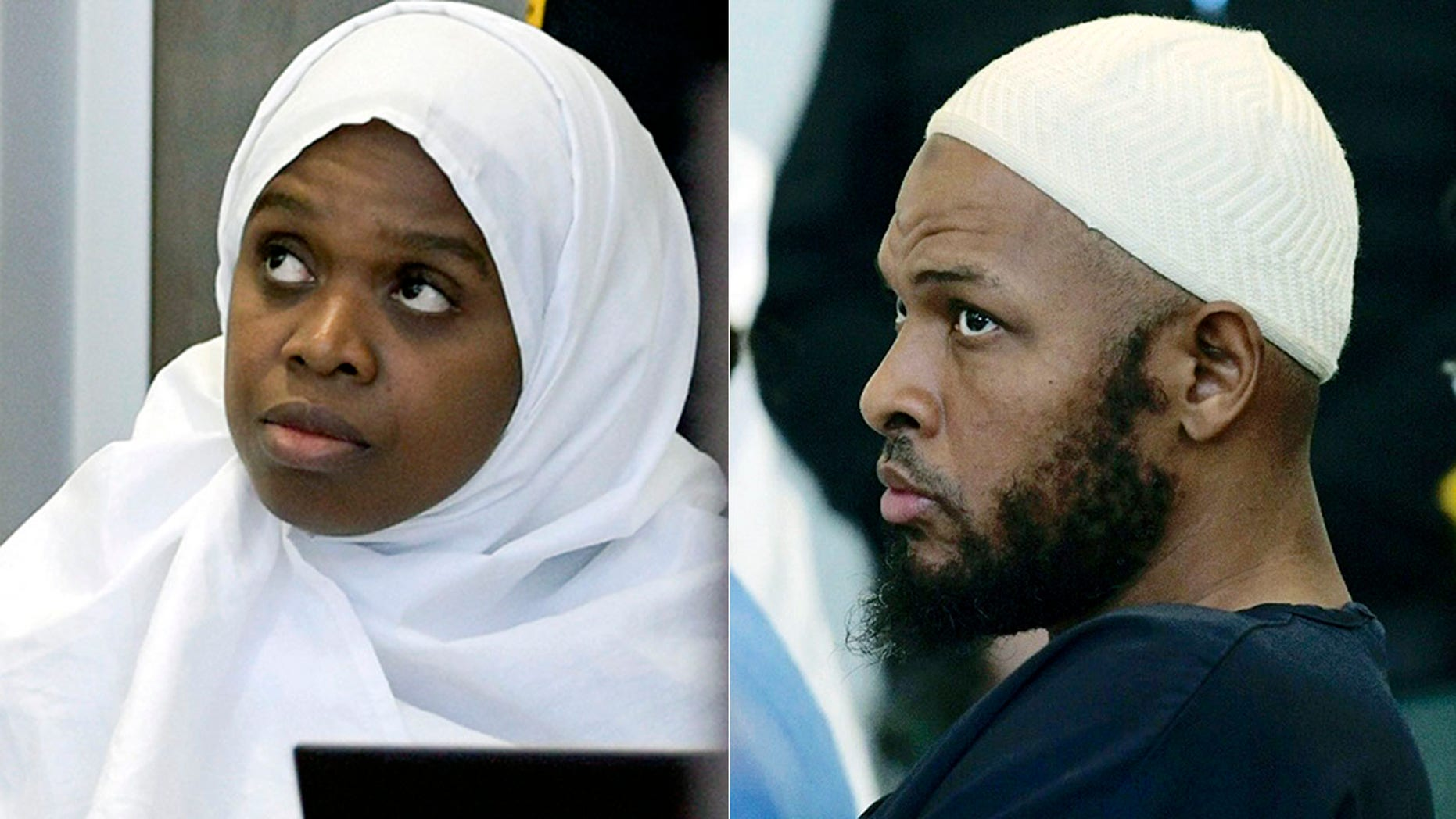 Jany Leveille, left, and Siraj Ibn Wahhaj , listening during a detention hearing in a Taos, N.M. court earlier this month.