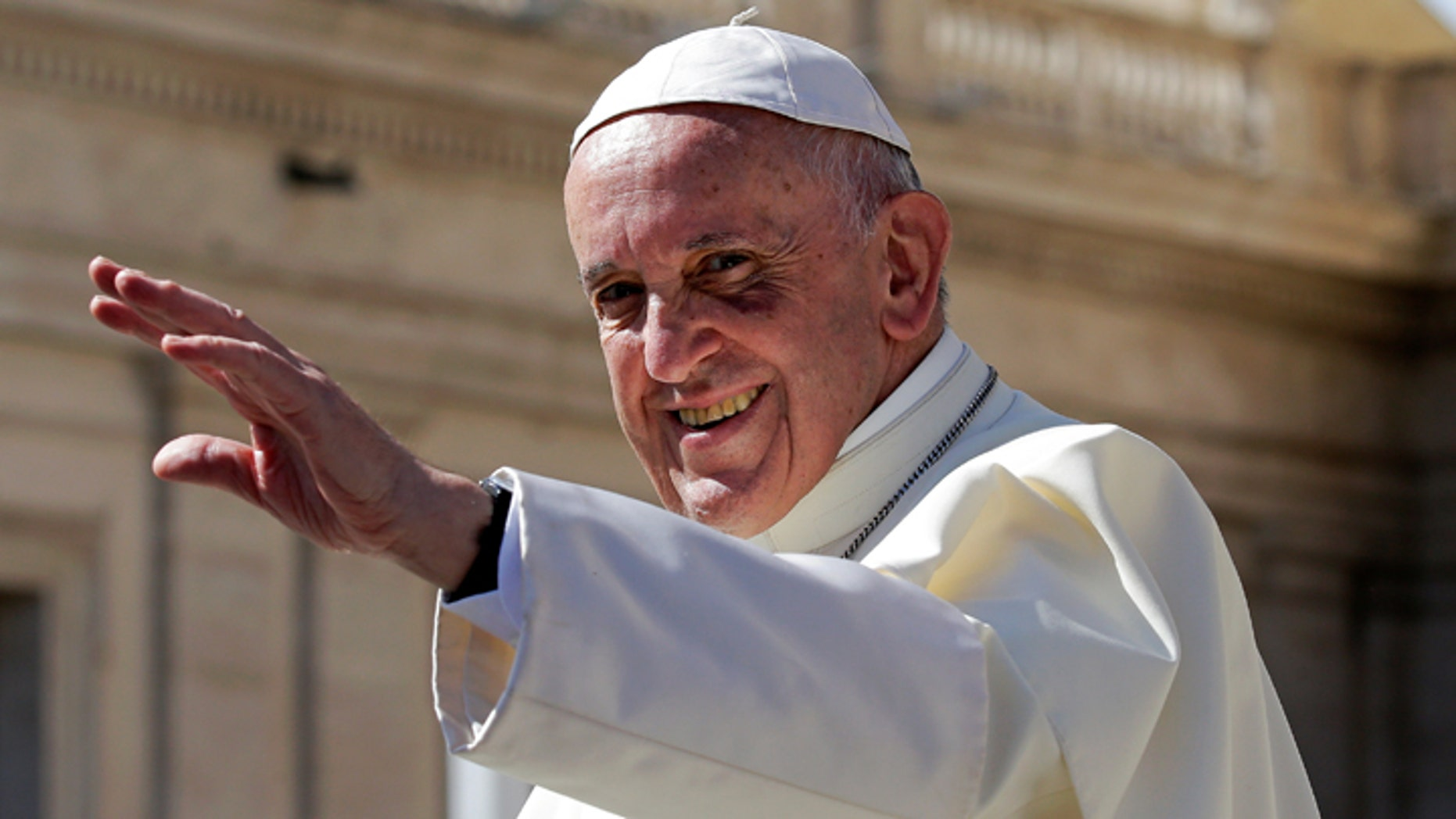 "Politics, rather than promoting dialogue, is becoming instead ""a forum for clashes between opposing forces,"" Pope Francis says. The pontiff is shown waving in Saint Peter's Square at the Vatican, Sept. 20, 2017."
