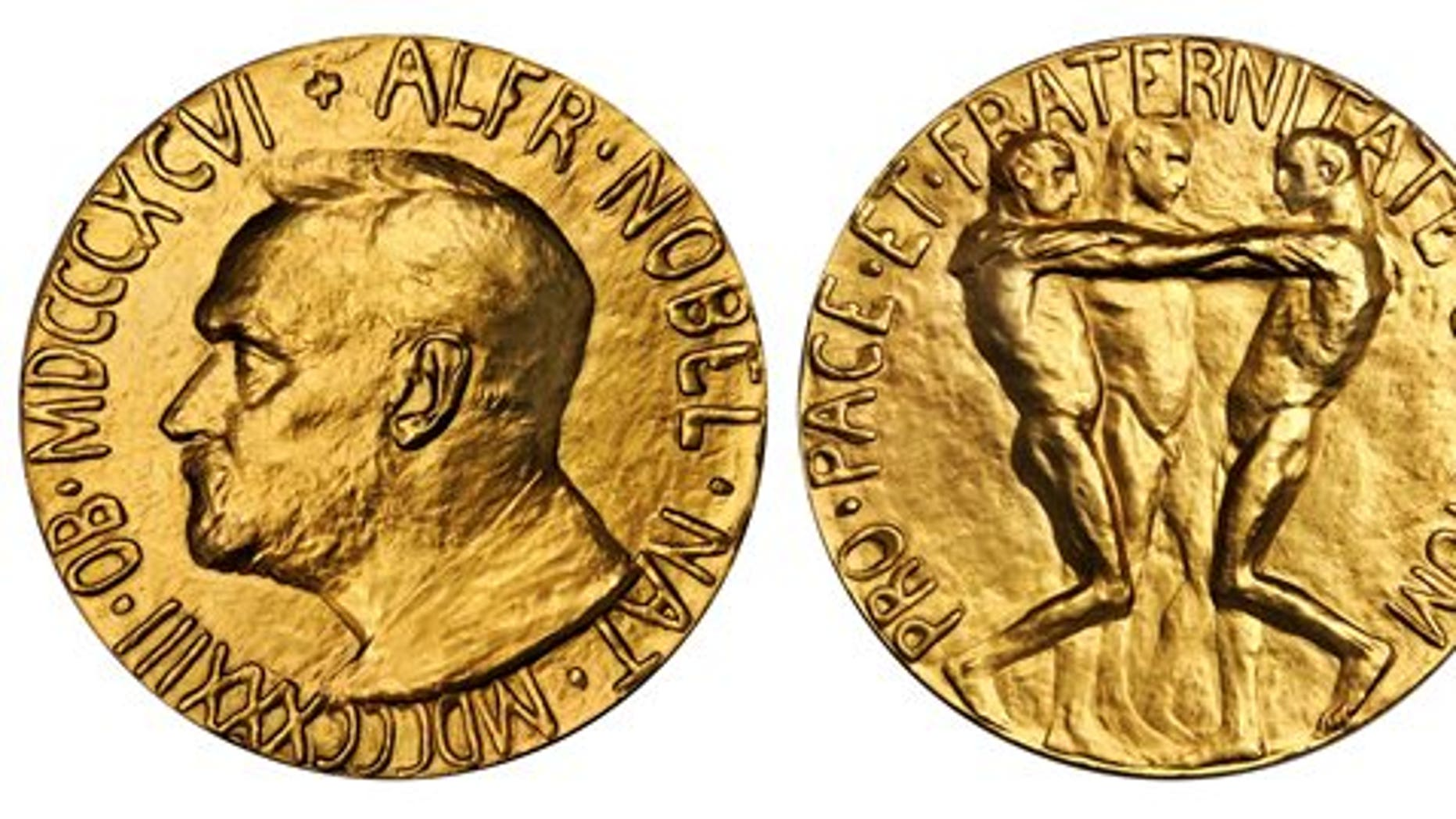 This undated photo provided by Stacks Bowers Galleries shows both sides of a Nobel Peace Prize that was saved from possible destruction for the value of its gold. The 1936 medal is only the second Nobel Peace Prize to come to auction and marked the first time an individual from Latin America was recognized by the prestigious award. The 23-karat relic is being offered for sale in Baltimore on March 27, 2014, by the New York-based Stacks Bowers Galleries. (AP Photo/Stacks Bowers Galleries)
