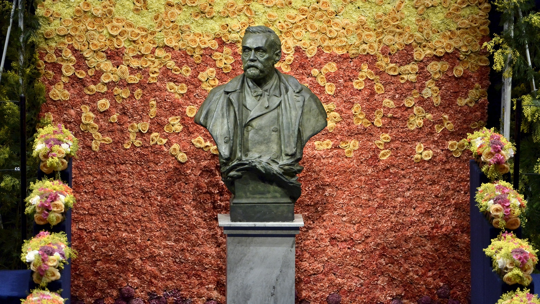 File photo - A bust of Swedish industrialist and armaments manufacturer Alfred Nobel is seen on the stage of Stockholm Concert Hall prior to the 2015 Nobel prize award ceremony Dec. 10, 2015. (REUTERS/Claudio Bresciani/TT News Agency)
