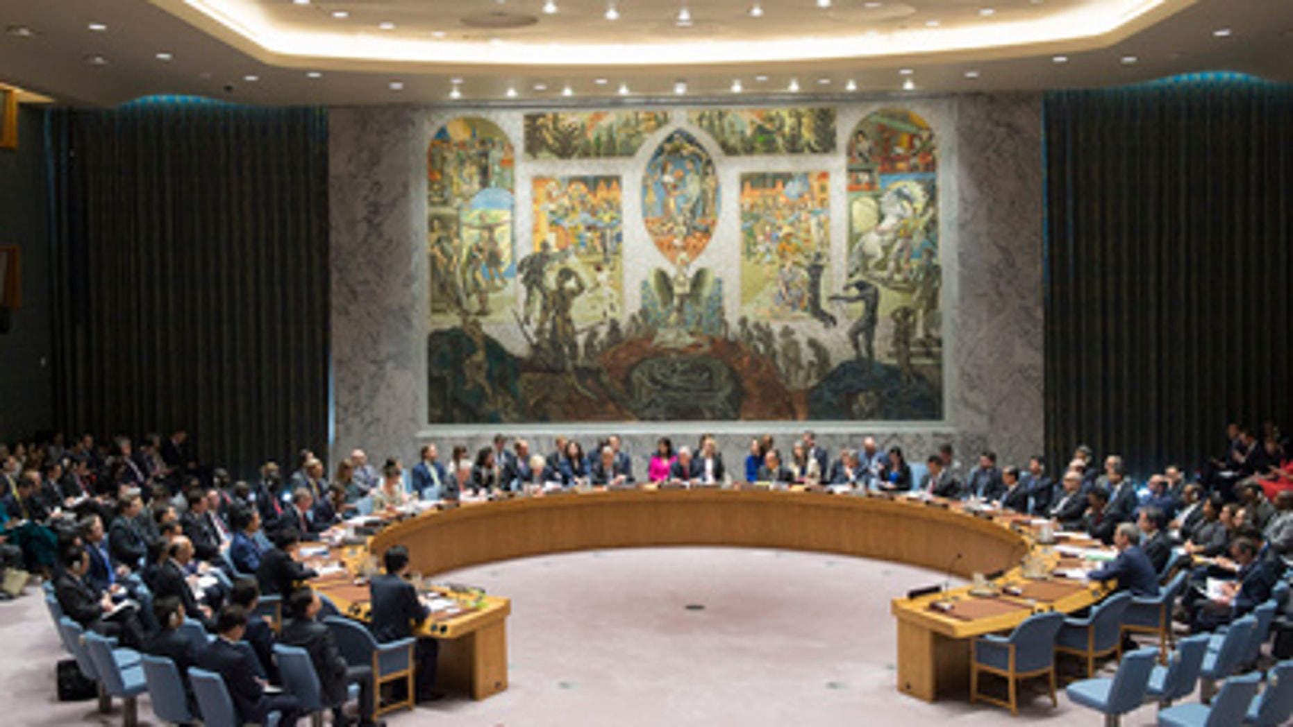 The United Nations Security Council holds meeting on the nuclear weapon and ballistic missile programs of the Democratic People's Republic of Korea in New York on April 28, 2017.