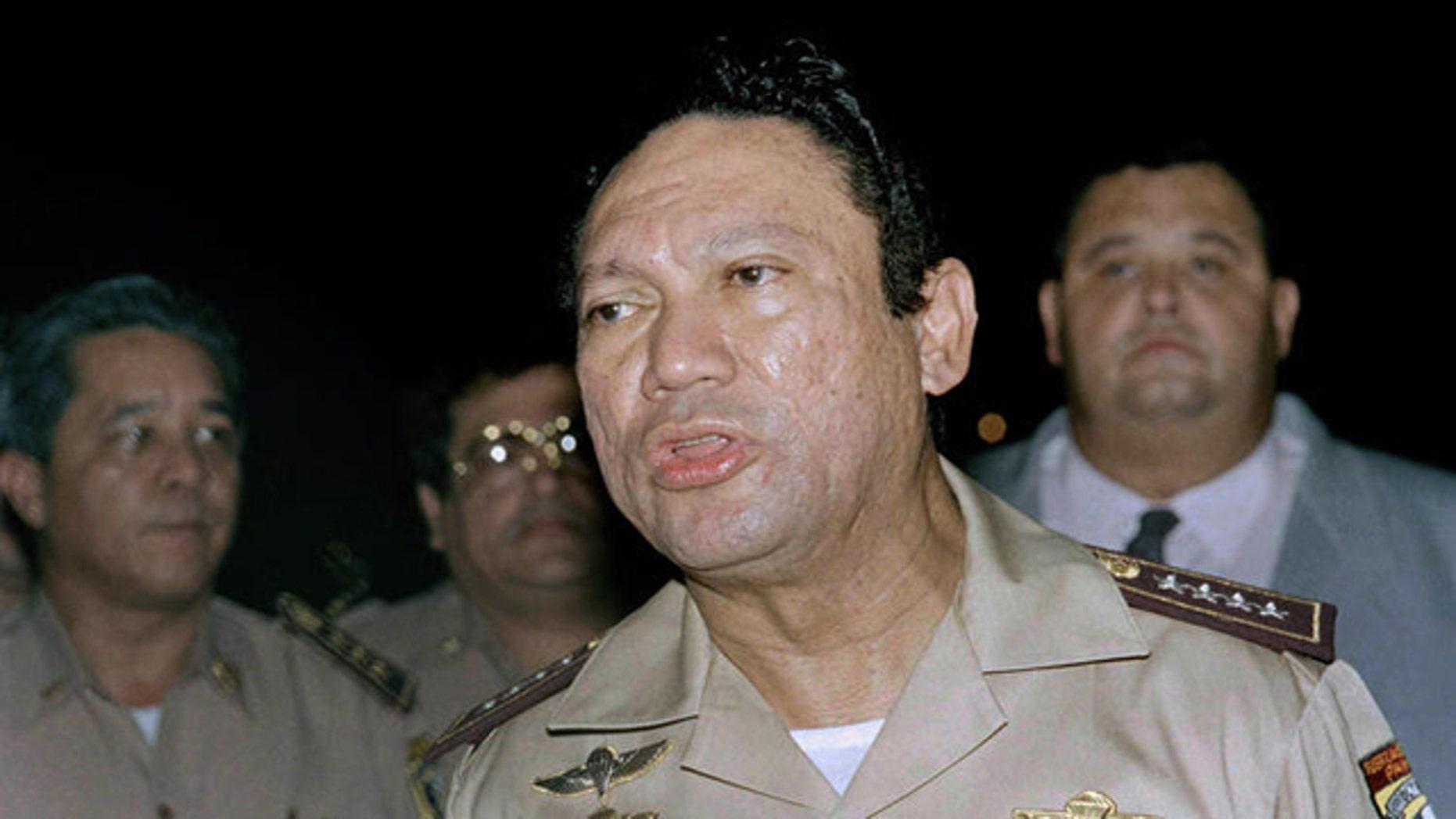 This 1989 photo shows Panama military dictator Manuel Noriega speaking to the media (AP)