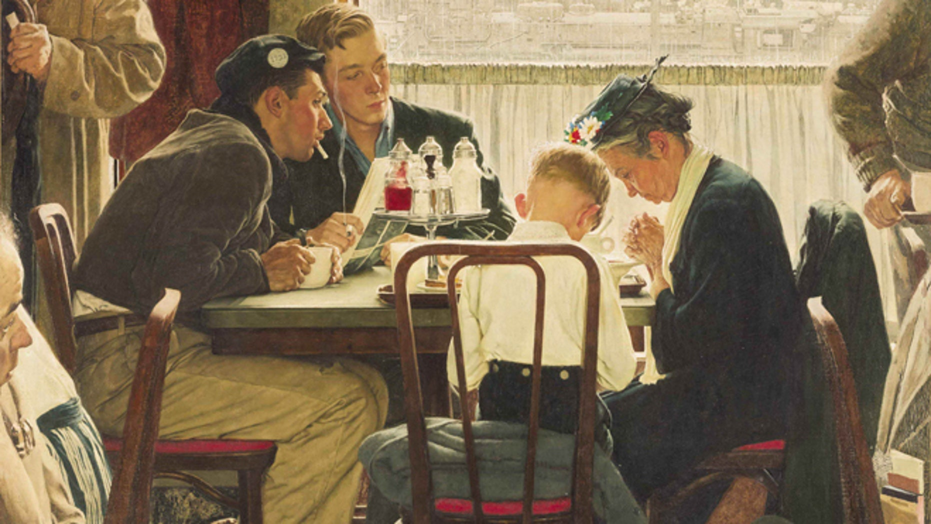 """This undated file photo provided by Sotheby's shows the popular Norman Rockwell masterpiece """"Saying Grace,"""" which is heading for the auction block. It is among seven works by The Saturday Evening Post illustrator going on sale at Sotheby's in New York on Dec. 4."""