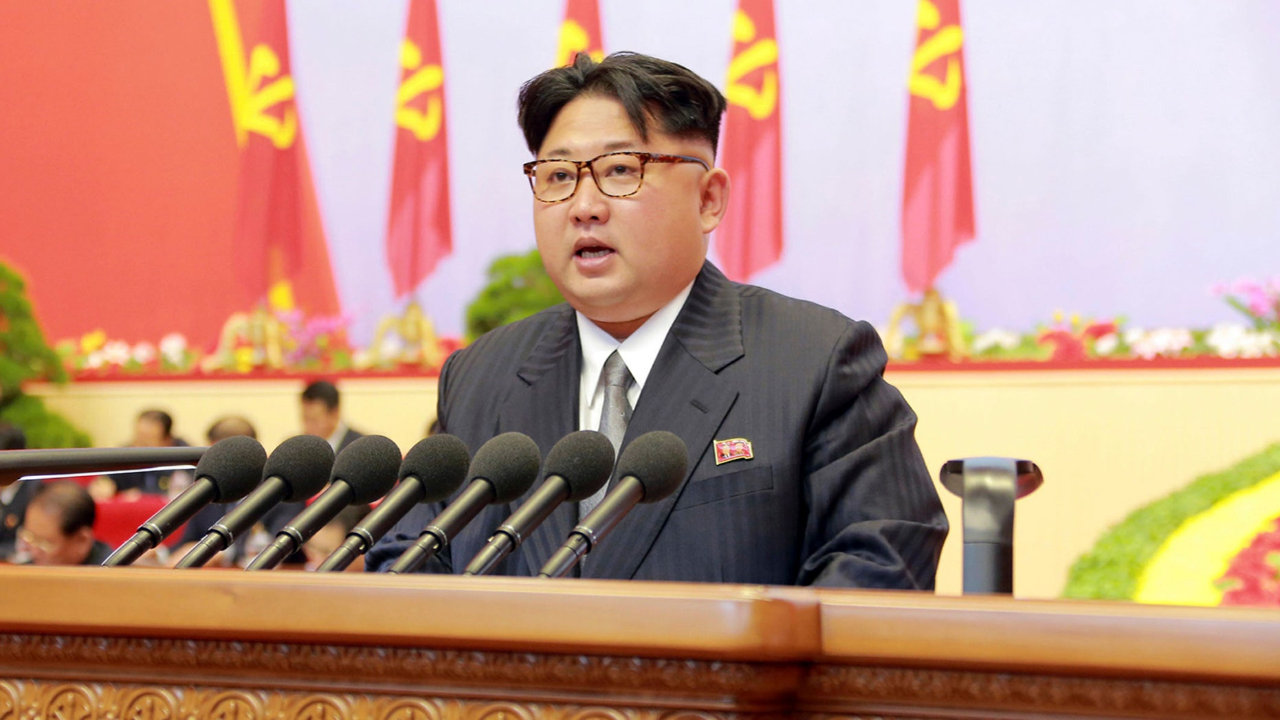 In this May 8, 2016, photo taken and distributed by the North Korean government, North Korean leader Kim Jong Un speaks during the party congress in Pyongyang, North Korea. (Korean Central News Agency/Korea News Service via AP)  JAPAN OUT UNTIL 14 DAYS AFTER THE DAY OF TRANSMISSION (KCNA via KNS)