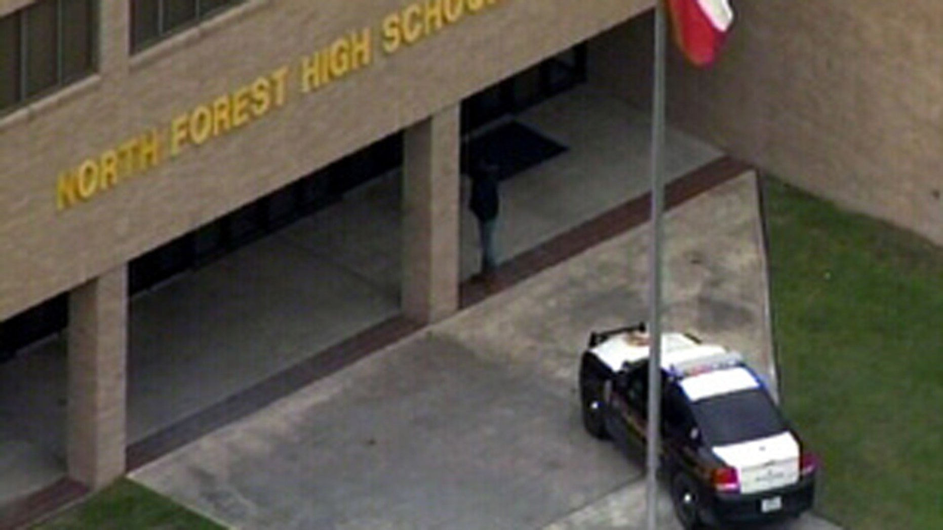 Jan. 10, 2012: This photo shows a police car outside of North Forest High School where a student reportedly shot another student in the leg.