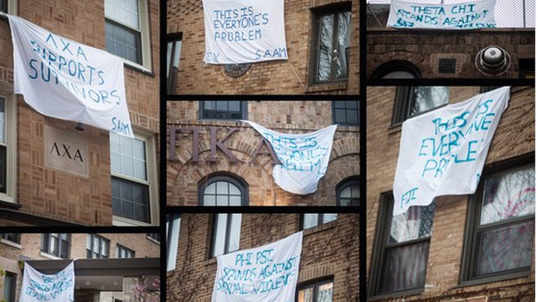 The banners hung out by Northwestern fraternities were apparently weel-intentioned, but feminists groups were angry. (The Daily Northwestern)