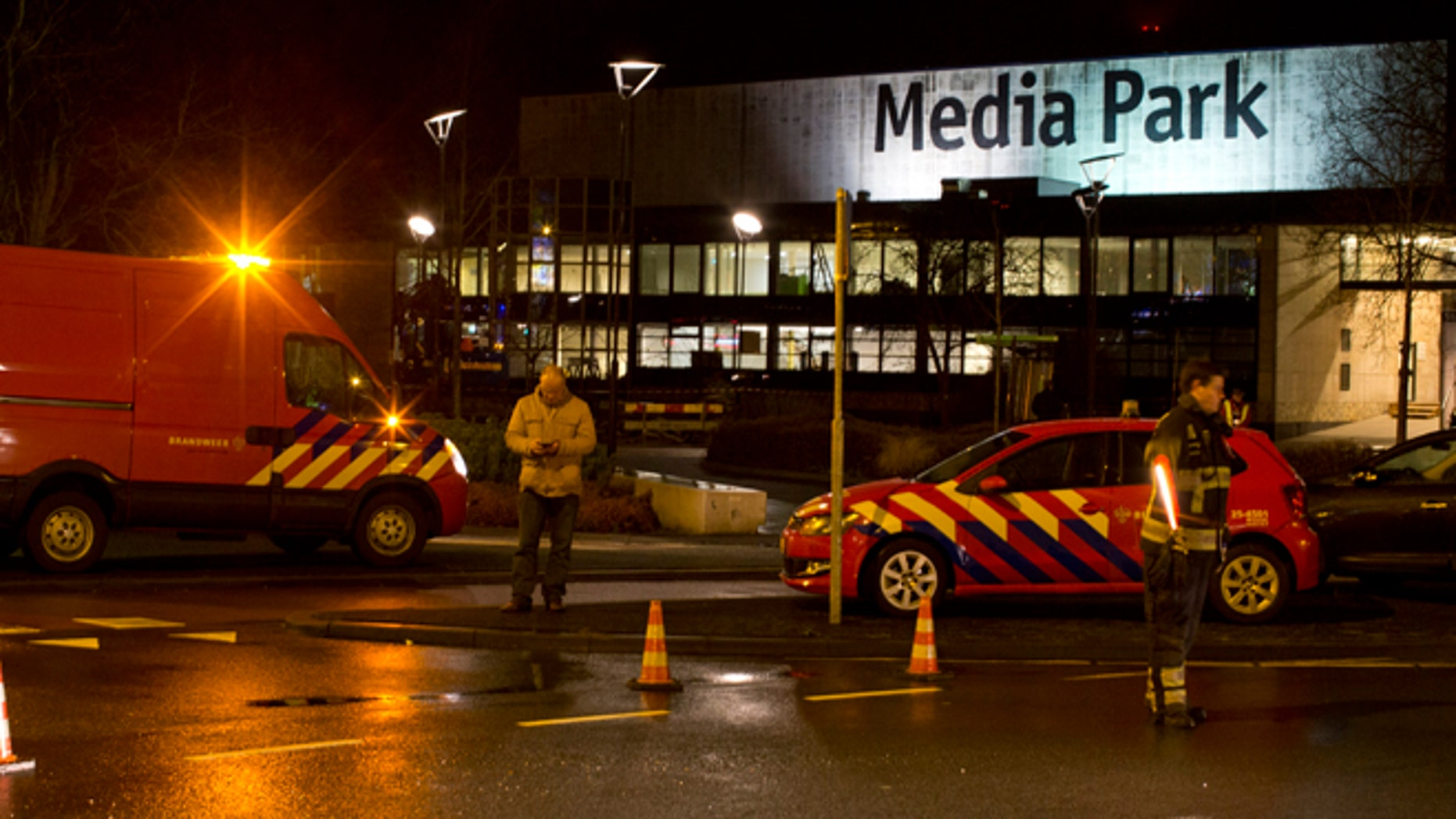 Jan. 29, 2015: Security forces are seen outside the Media Park in Hilversum, Netherlands.