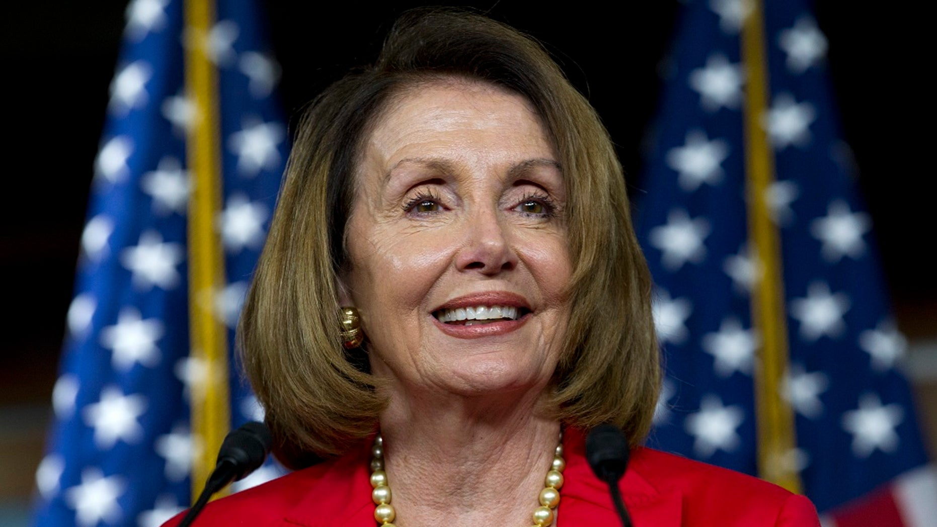 FILE - Sept. 6, 2018, file photo, House Minority Leader Nancy Pelosi, D-Calif., speaks during her weekly news conference on Capitol Hill in Washington. (AP Photo/Jose Luis Magana, File)