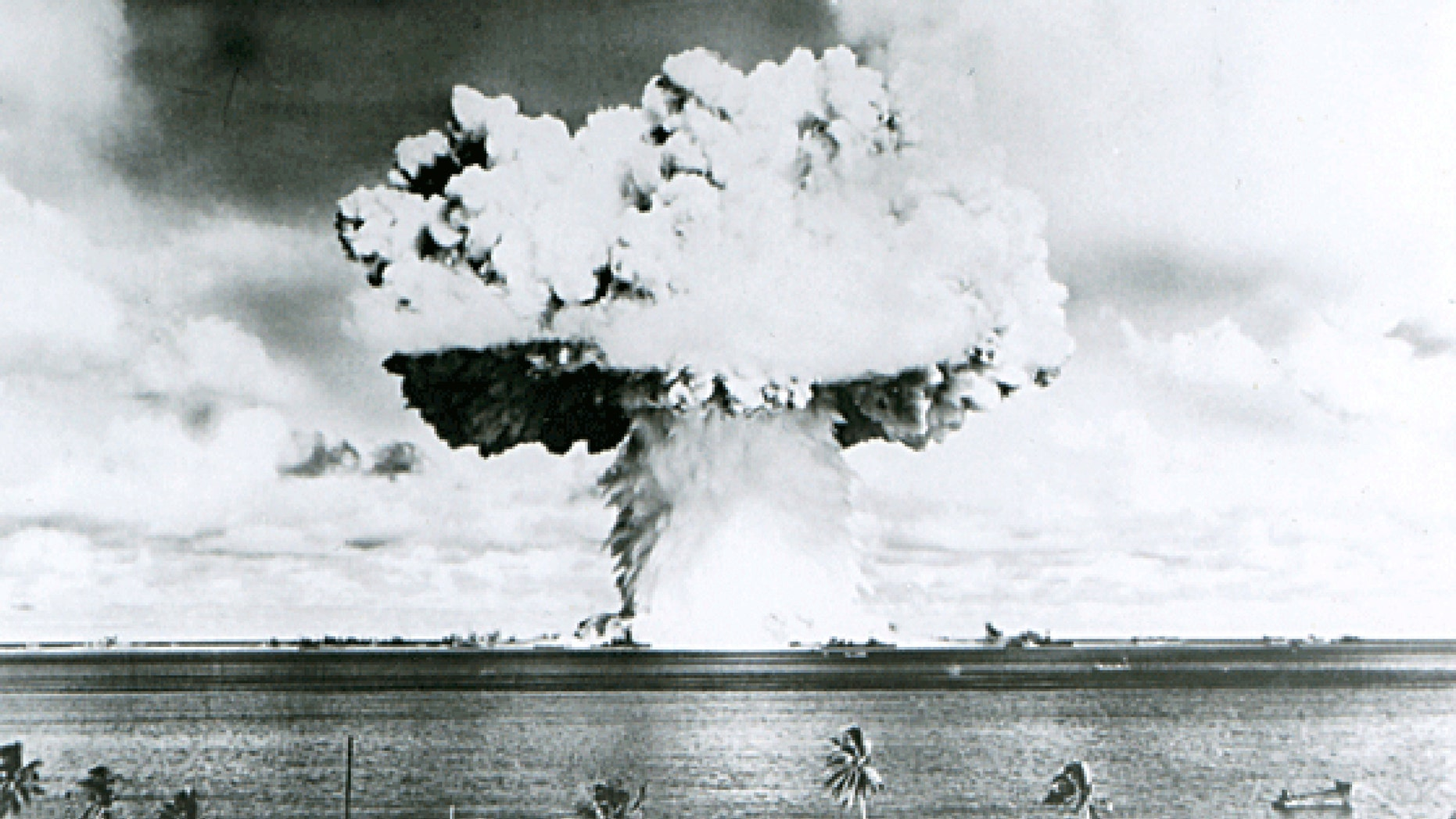 This U.S. Navy handout image shows Baker, the second of the two atomic bomb tests, in which a 63-kiloton warhead was exploded 90 feet under water as part of Operation Crossroads, conducted at Bikini Atoll in July 1946 to measure nuclear weapon effects on warships. (REUTERS/U.S. Navy/Handout via Reuters)