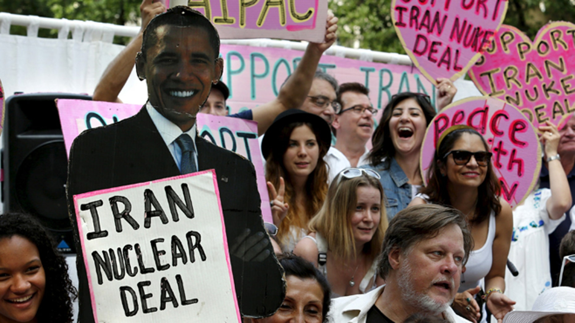 FILE: August 30, 2015: Activists rally outside the White House in Washington, D.C., in support of the Iran nuclear deal .