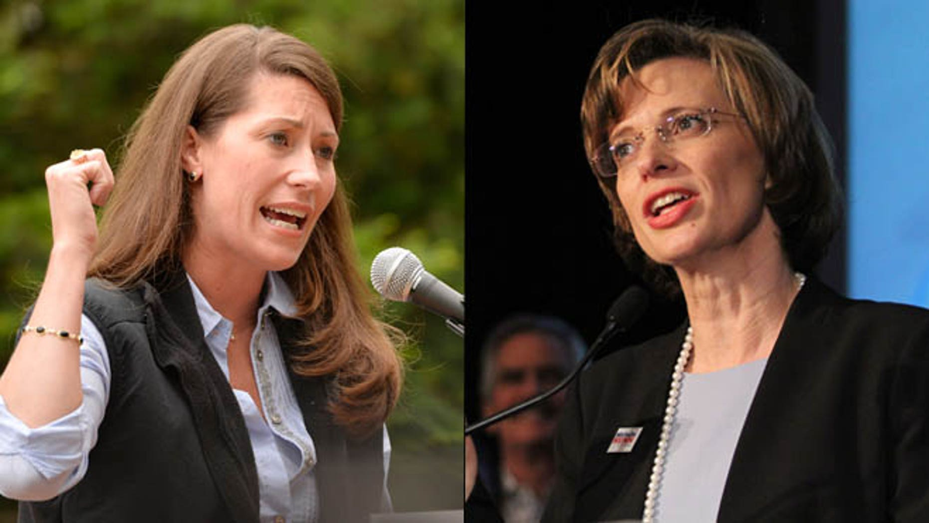 Shown here are Kentucky Senate candidate Alison Lundergan Grimes, left, and Georgia Senate candidate Michelle Nunn.