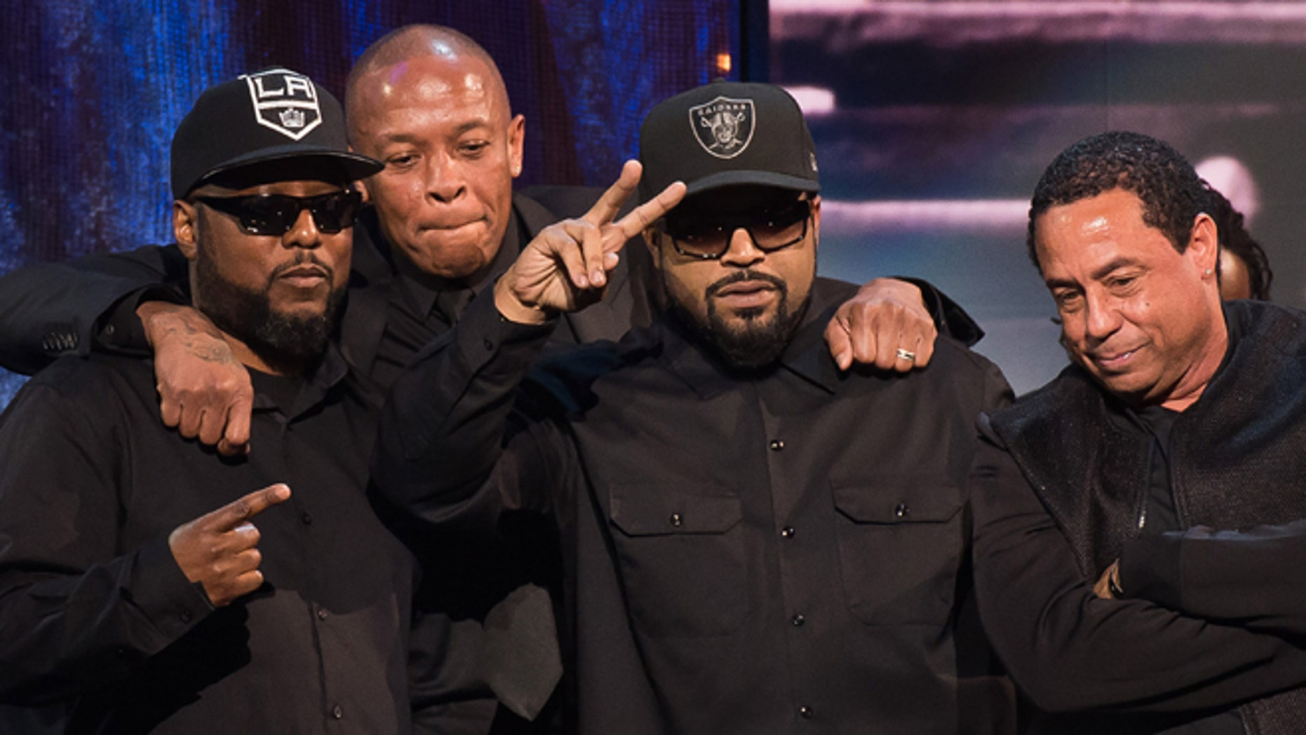 April 8. 2016. Inductees MC Ren, from left, Dr. Dre, Ice Cube and DJ Yella from N.W.A appear at the 31st Annual Rock and Roll Hall of Fame Induction Ceremony in New York.
