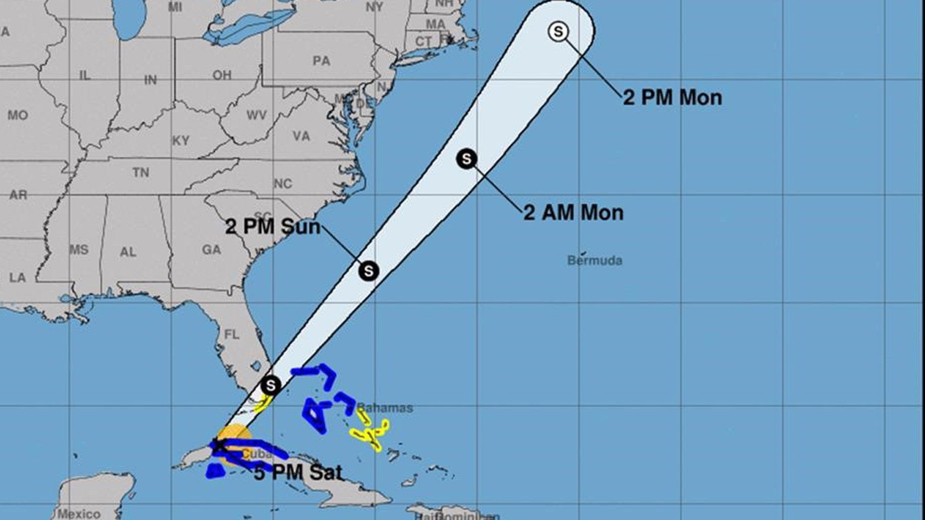 This map shows the track of Tropical Storm Philippe.