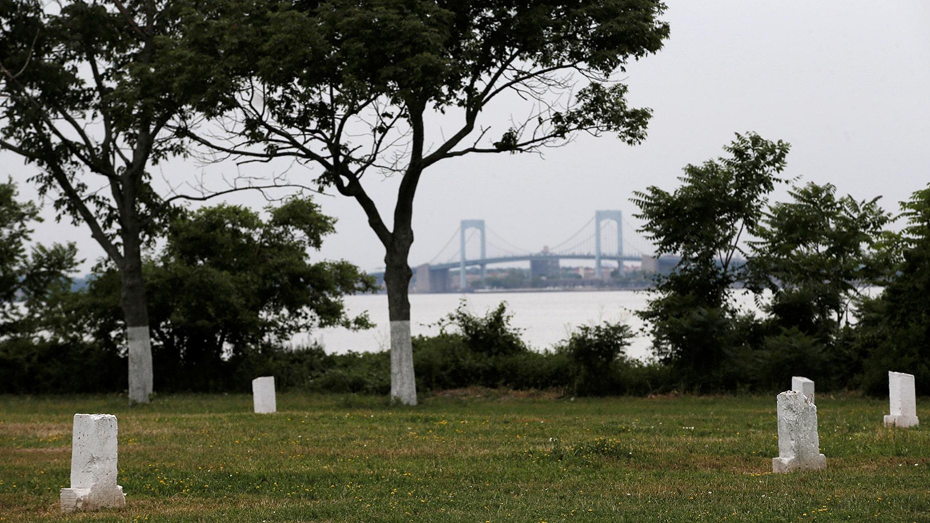 Human bones were exposed on Hart Island due to beach erosion.