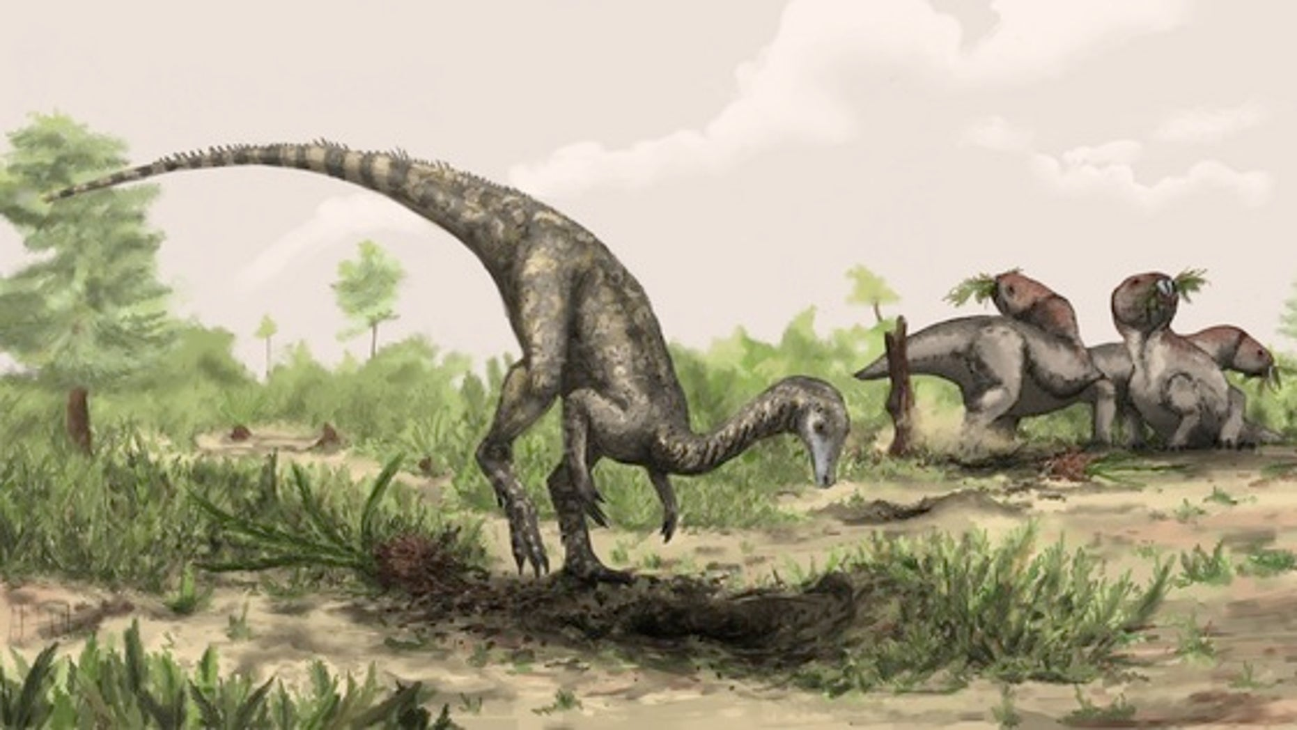 An artist's illustration of a Nyasasaurus from the middle Triassic of Tanzania.
