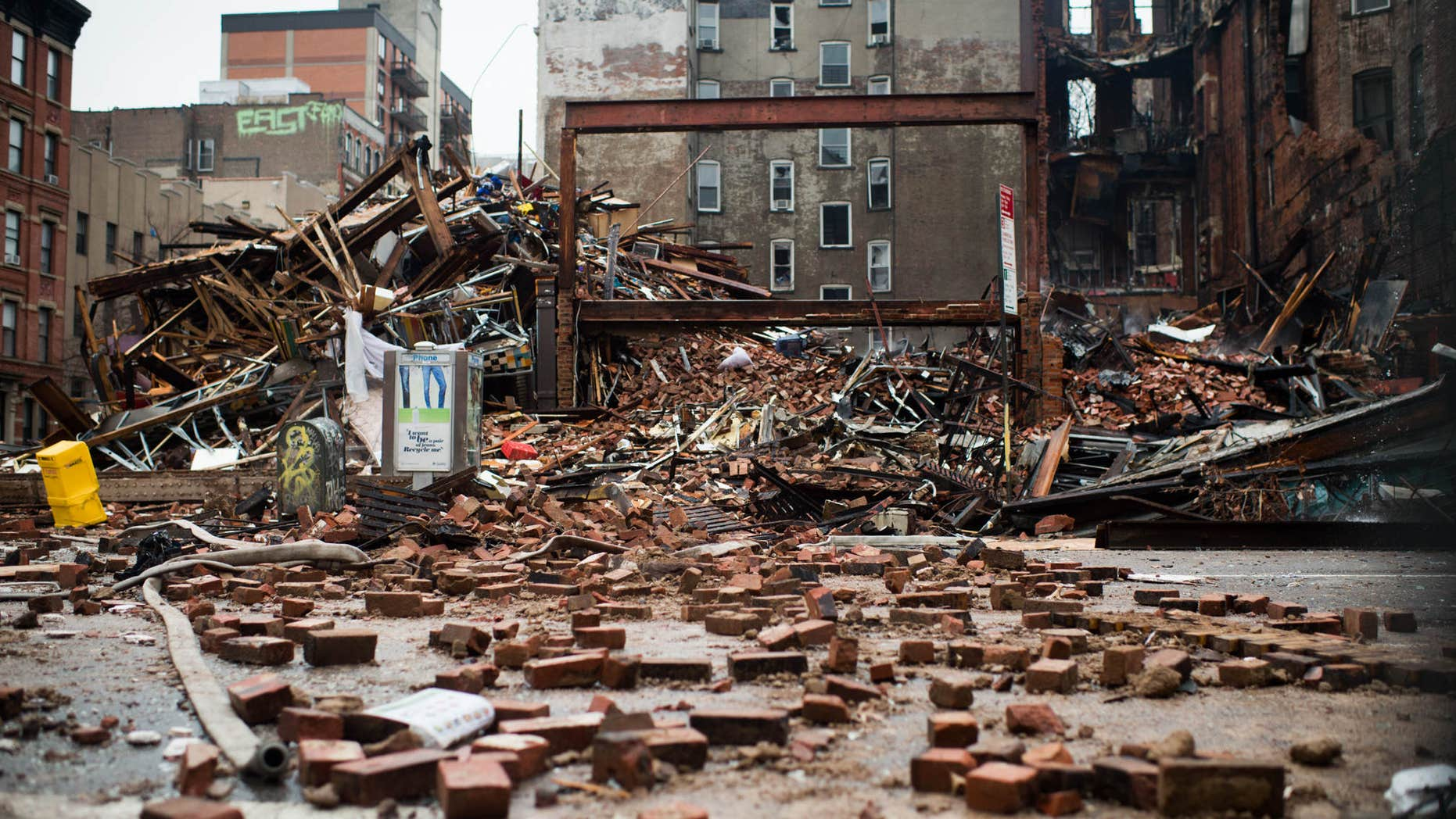 March 27, 2015: A pile of debris remains at the site of a building explosion in the East Village neighborhood of New York.