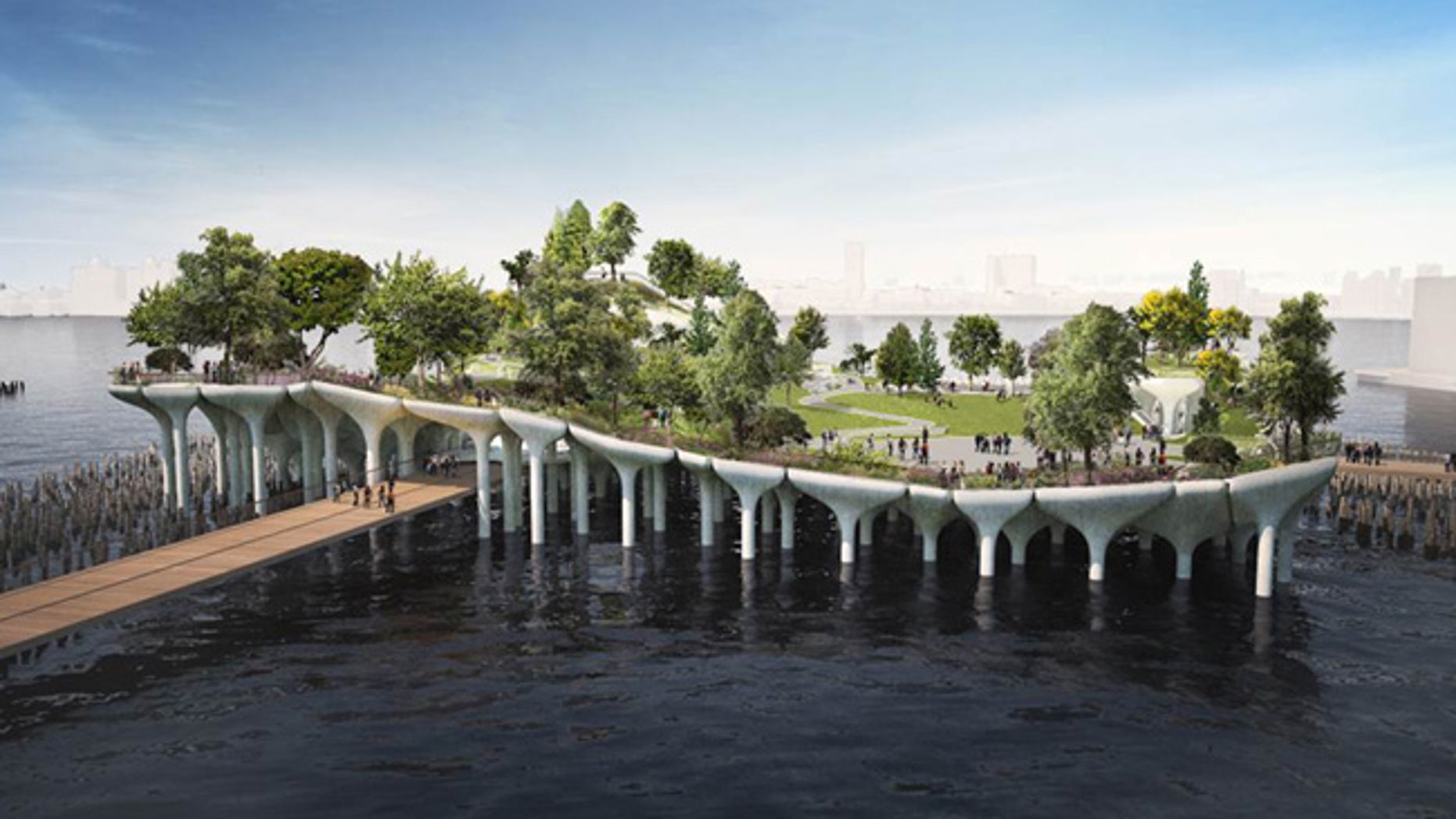 This undated artist rendering provided by Pier55 Inc./Heatherwick Studio, shows the proposed redevelopment of Pier 55 in New York City. Media mogul Barry Diller and his wife, fashion maven Diane von Furstenberg propose to spend about $200 million transforming Pier 55 on Manhattan's West Side from a bunch of historic piles jutting from the water into a futuristic, undulating park and performance space rising over a cluster of white mushroom-like caissons. (Pier55 Inc./Heatherwick Studio via AP)