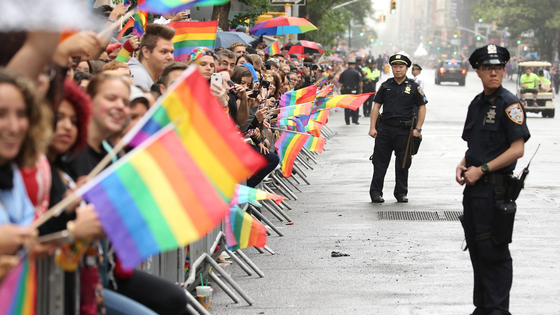 NEW YORK, NY - JUNE 28:  A general view of atmosphere during the 2015 New York City Pride march.