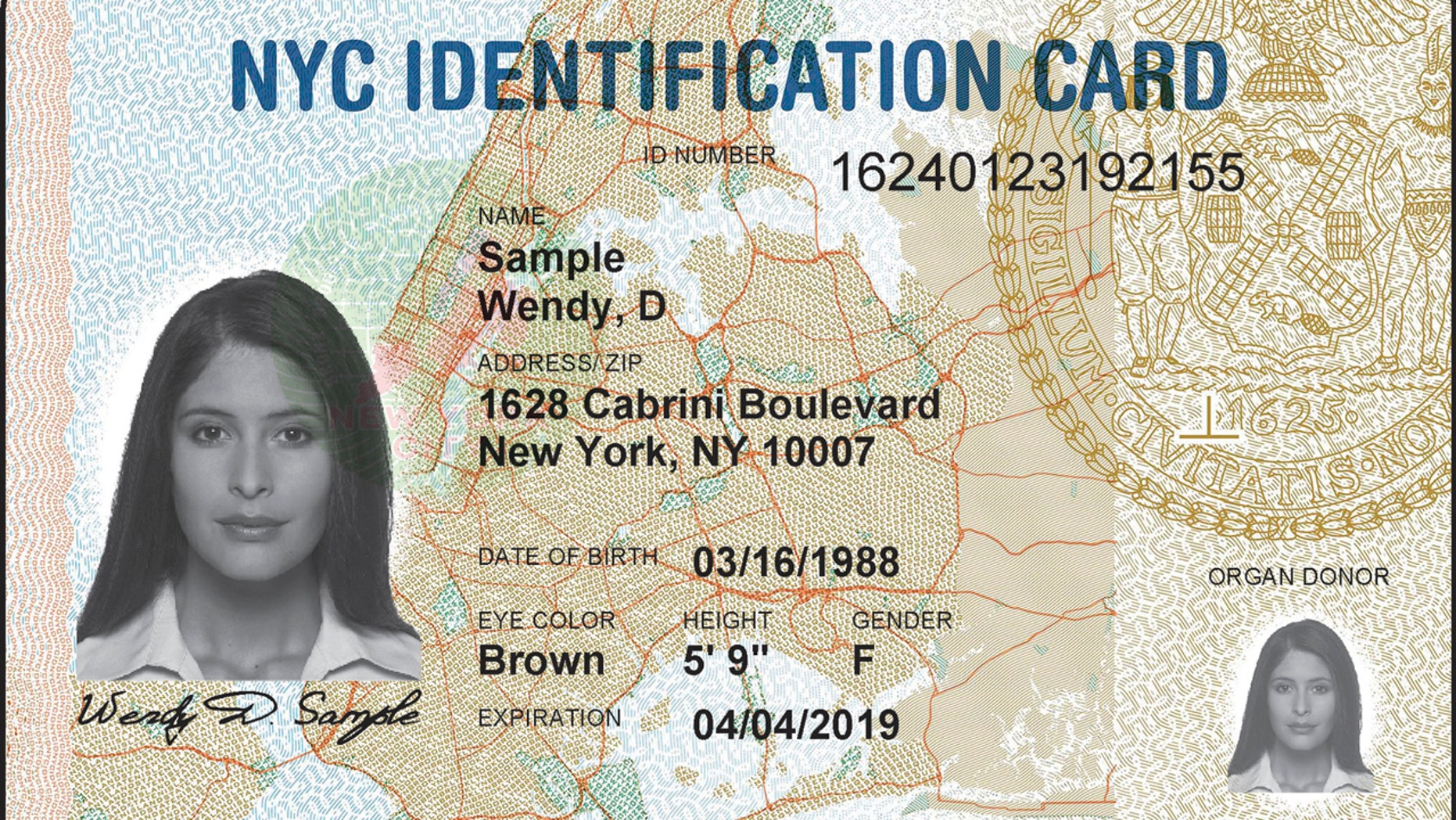 This undated image provided by New York City Hall shows a sample ID card issued by the city. Advocates of last year's municipal ID card program said it would help people living in the country illegally venture out of the shadows. Now some fear it could instead expose them to deportation. Since Donald Trump's presidential election victory, the city is considering destroying the cardholders' personal records. (New York City Hall via AP)