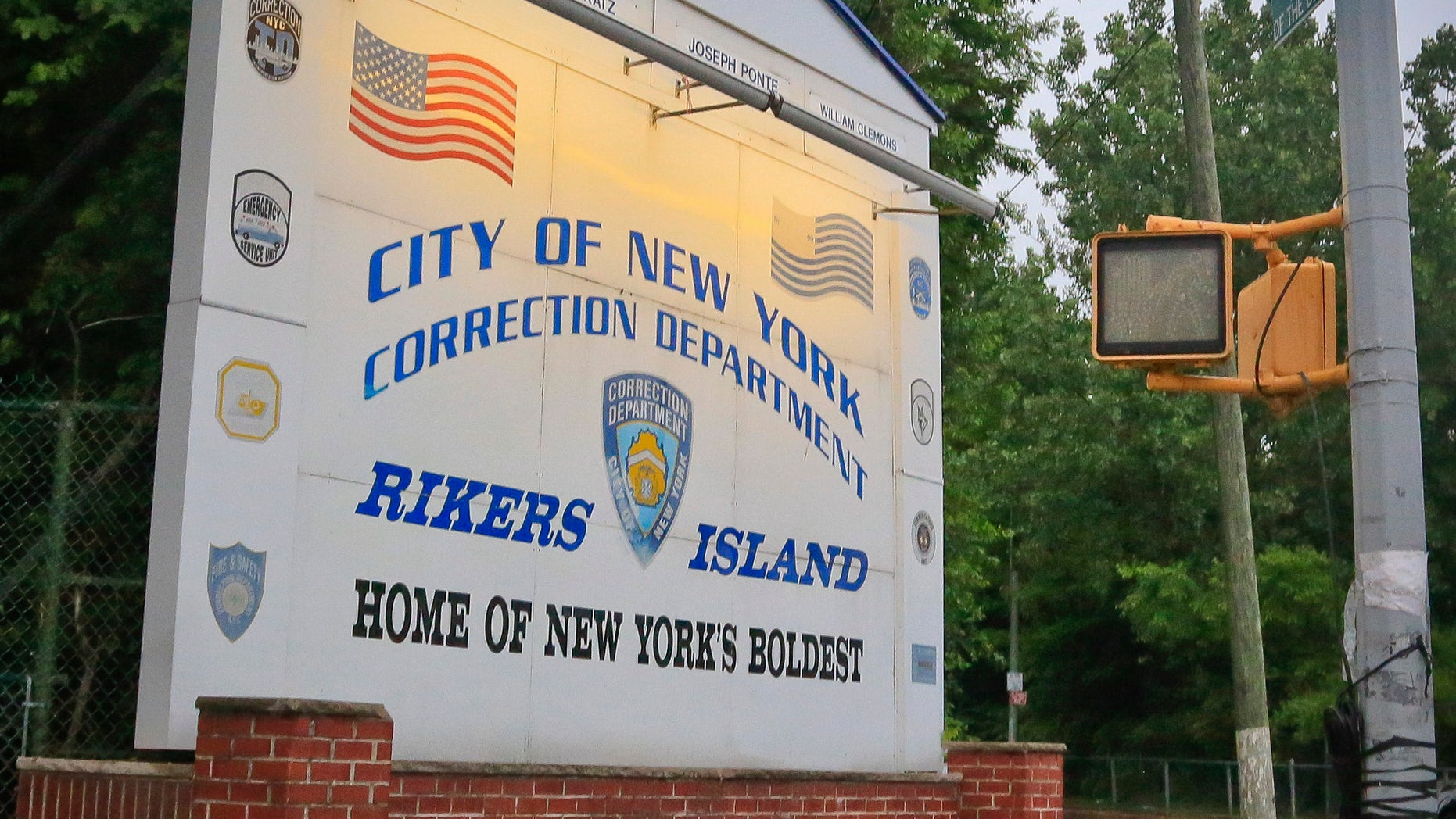 June 11, 2014:  The main sign for the Rikers Island jail in the Queens borough of New York.