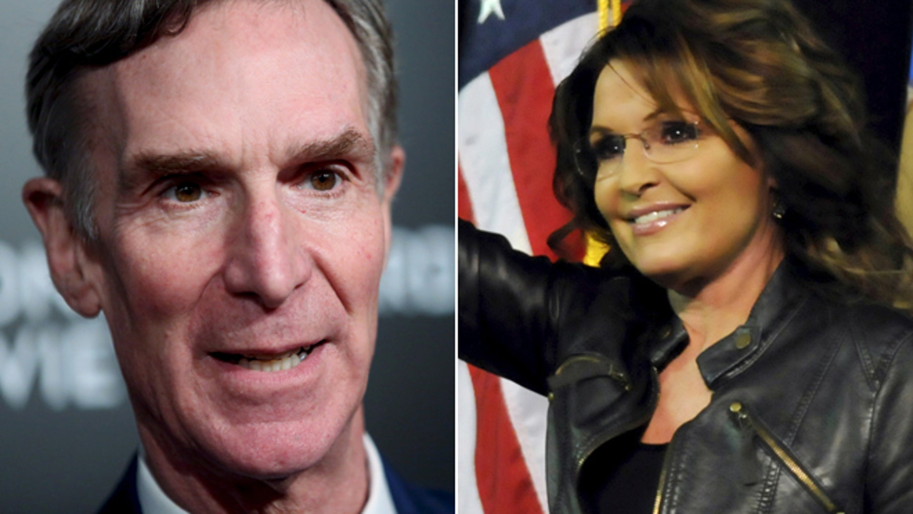 On left, Bill Nye the Science Guy; on right, former Alaska Gov. Sarah Palin