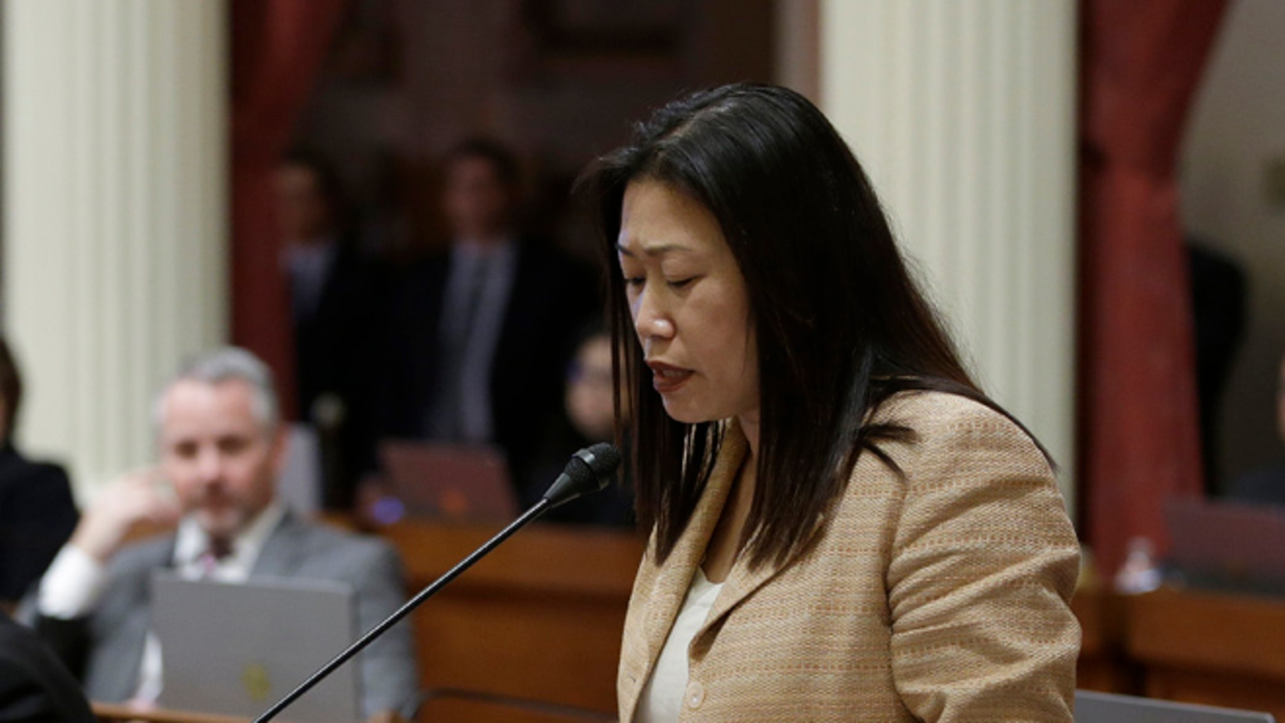 FILE: Feb. 23, 2017: California state GOP Sen. Janet Nguyen, removed from the chamber after refusing to end a speech critical of former legislator Tom Hayden and his anti-Vietnam war activism. (AP)