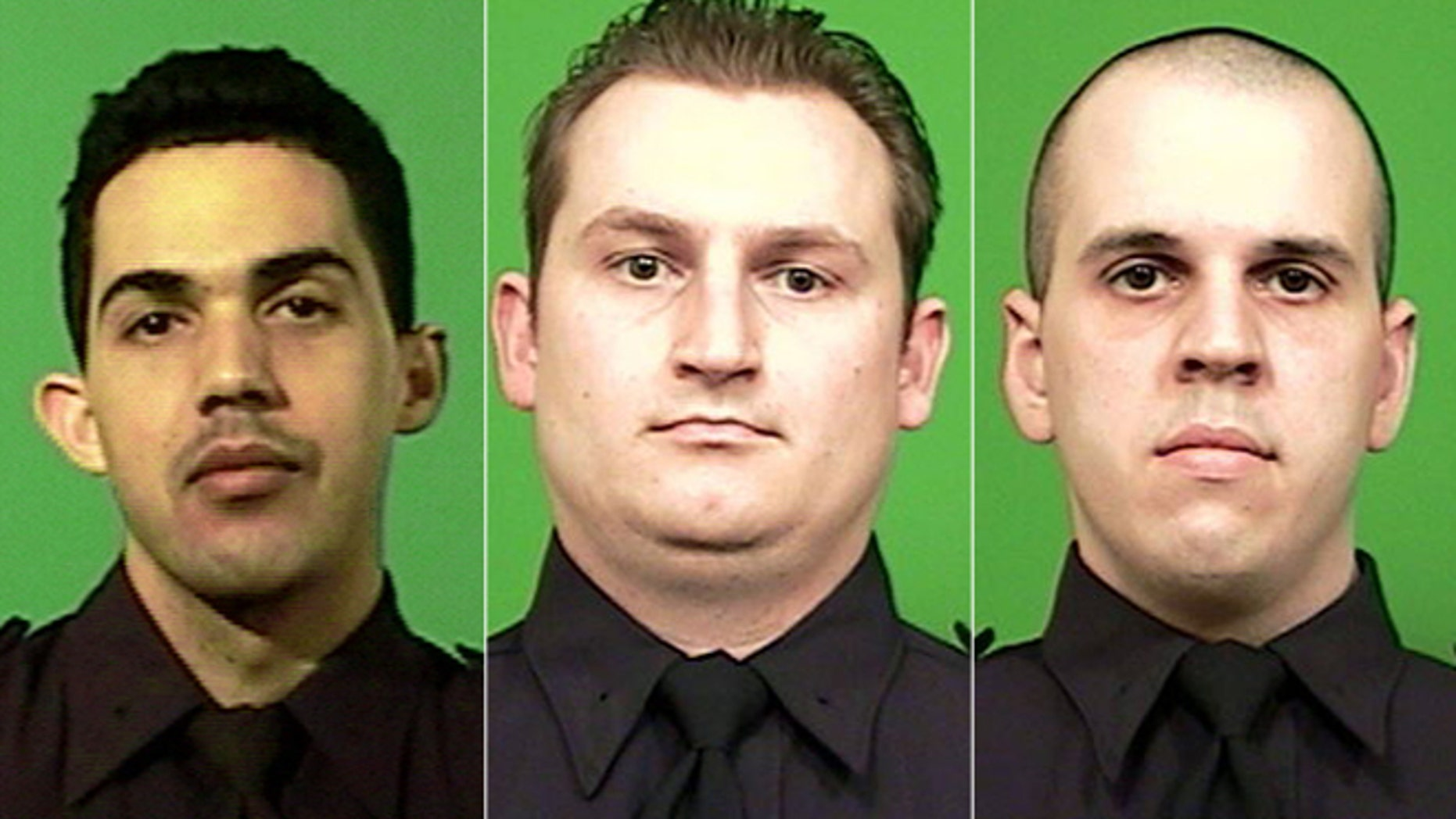Jan 3, 2013: Juan Pichardo, left,  was shot in the right thigh while disarming a suspect. Lukasz Kozicki, 32, center, was struck three times. Michael Levay, 27, right, was shot in the lower back.