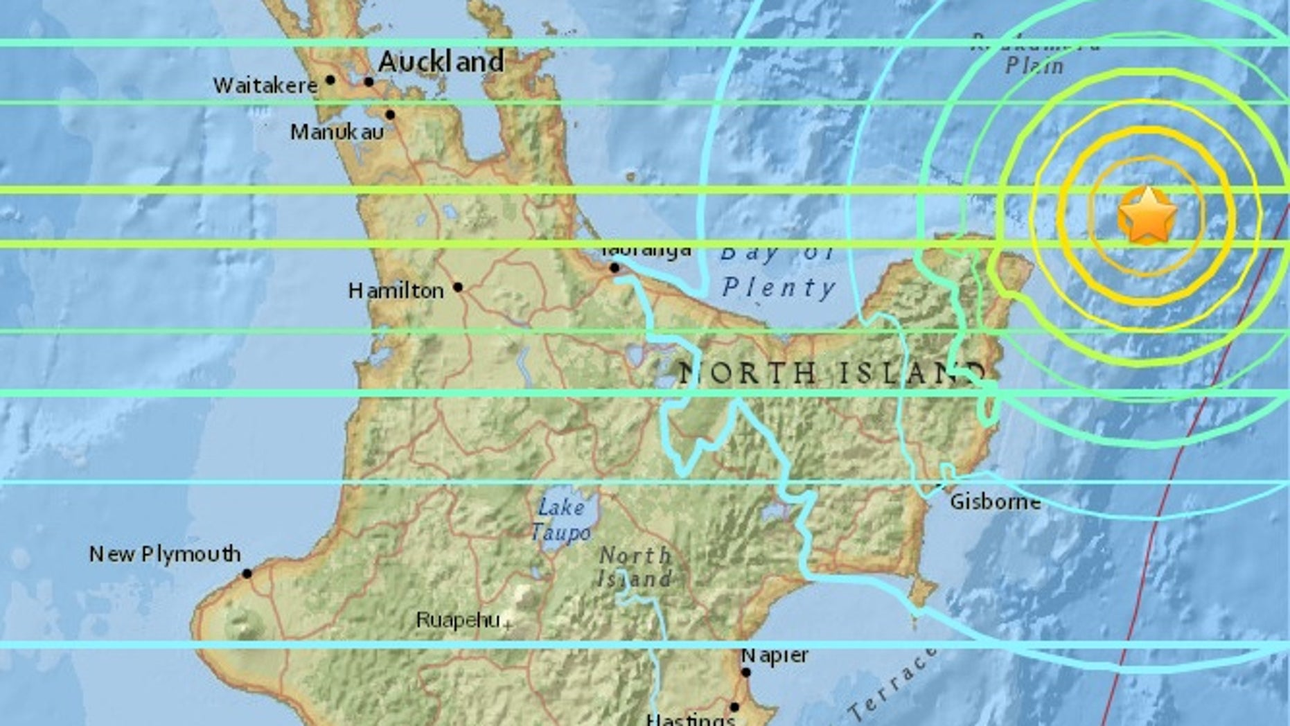 Map of the earthquake. The yellow rings signify strong shaking, with blue rings indicating weak shaking.
