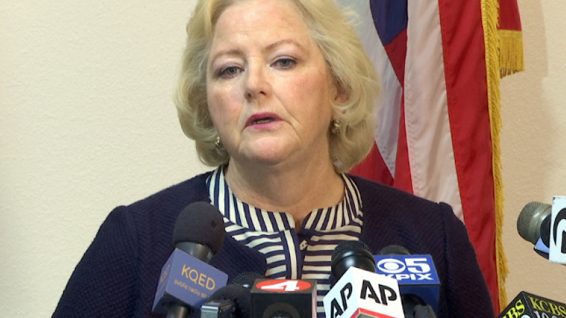 Sept. 9, 2016: Alameda County District Attorney Nancy O'Malley announces that her office will charge seven current and former San Francisco Bay Area police officers in a sexual misconduct scandal at a news conference in Oakland, Calif.