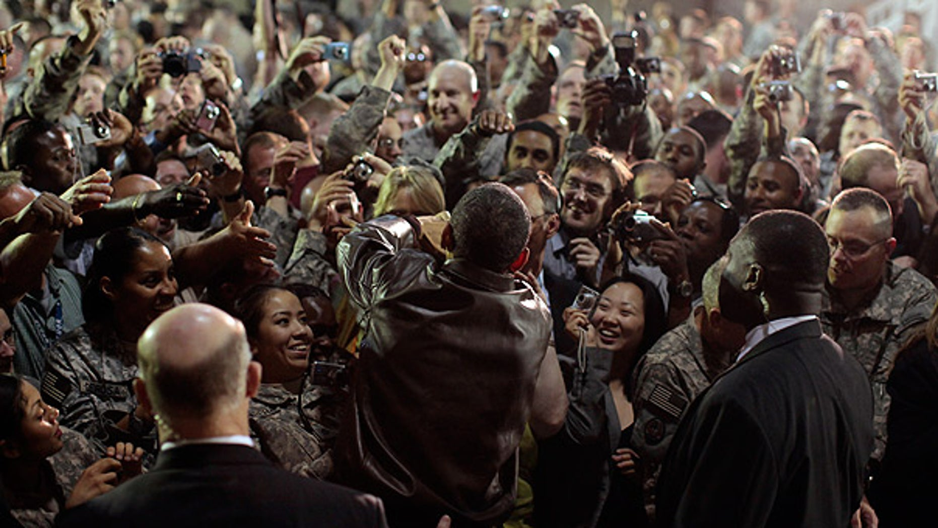 Mar. 28: President Obama rallies troops and military personnel at Bagram Air Base in Afghanistan.