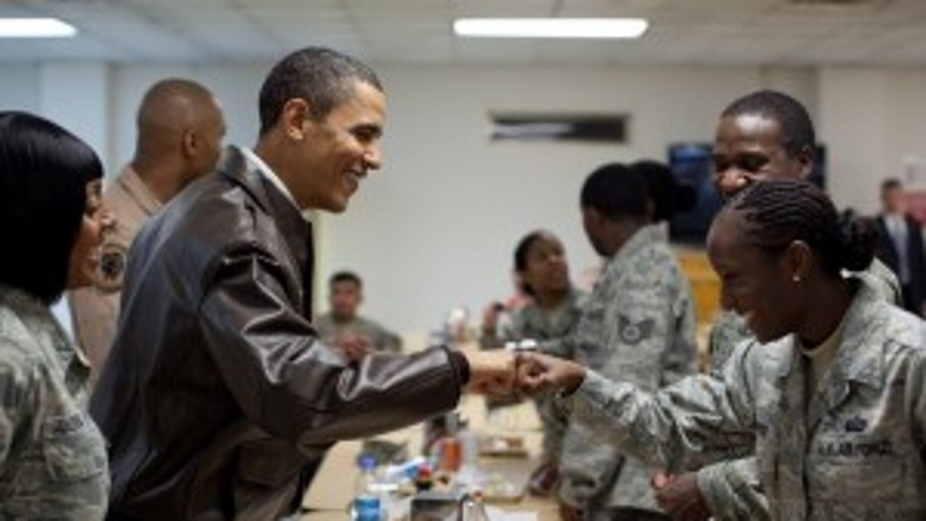 President Obama greets U.S. troops at a mess hall at Bagram Air Field. (WH Photo) To see more photos - check out the slideshow at the bottom of this post.