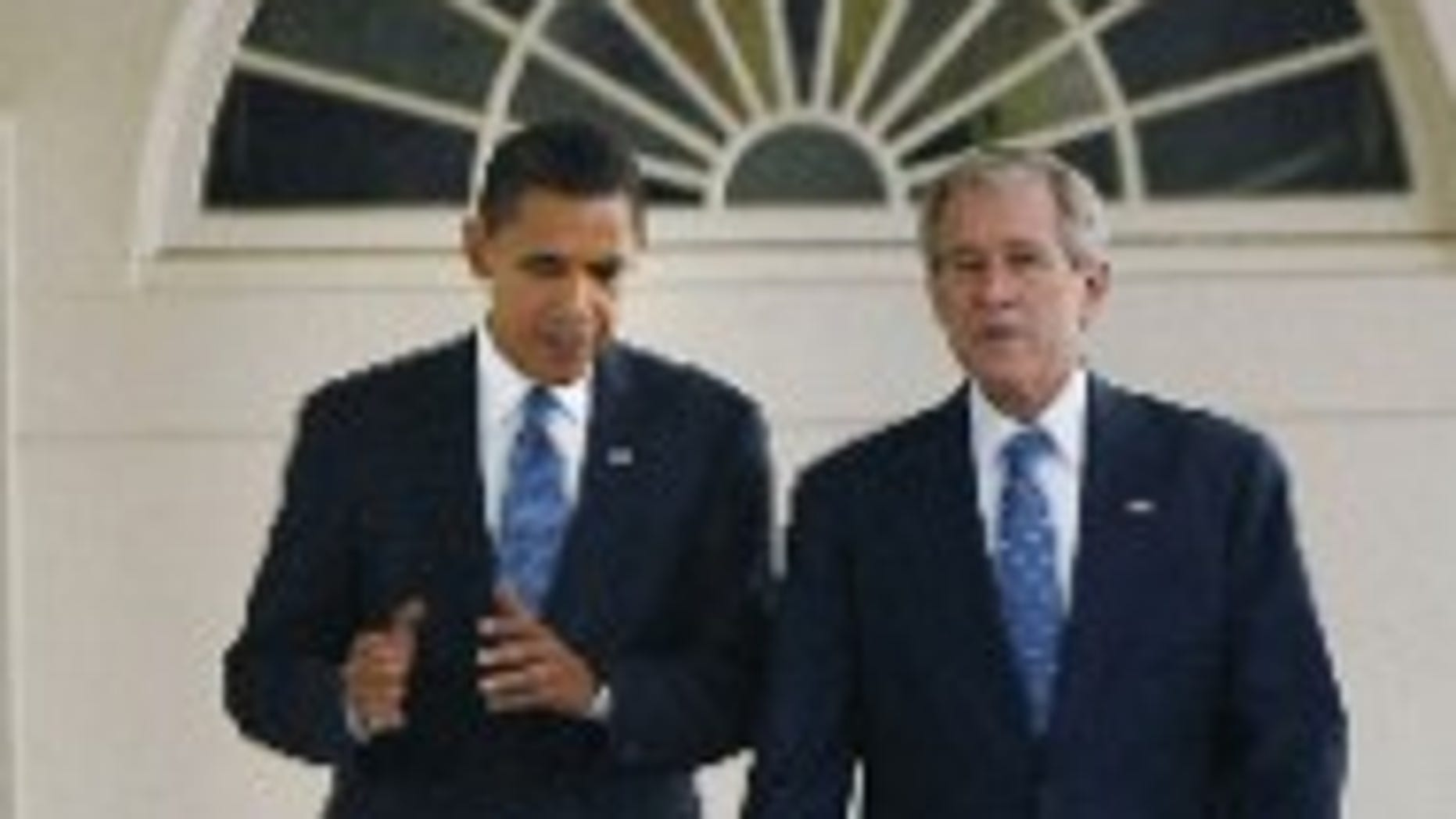 President Bush and President-elect Obama meet at the White House. November 10, 2008 (AP Photo)
