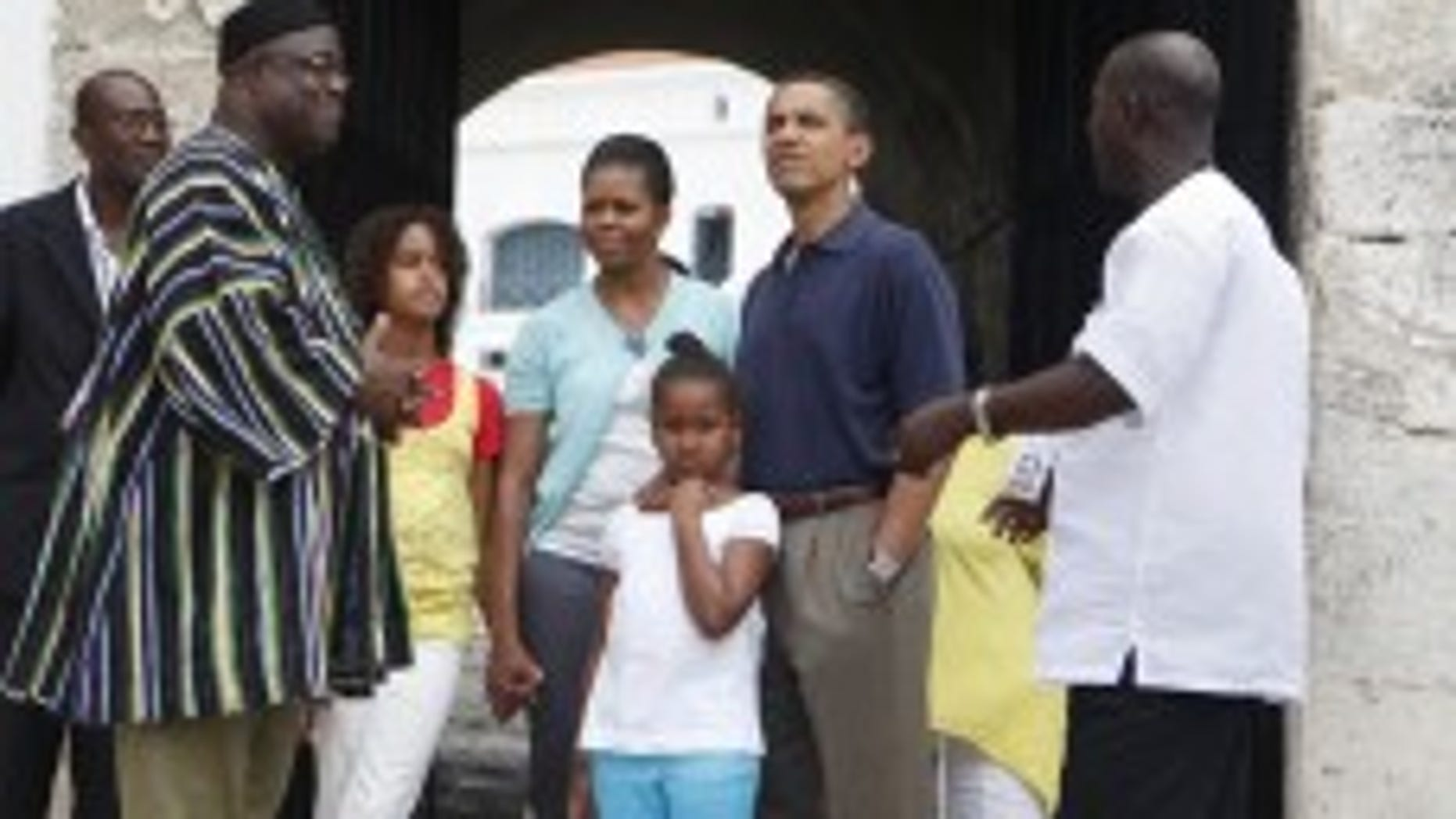 President Barack Obama, first lady Michelle Obama and their daughters Malia and Sasha on a tour of the Cape Coast Castle in Cape Coast, Ghana, Saturday, July 11, 2009. (AP Photo/Haraz N. Ghanbari)