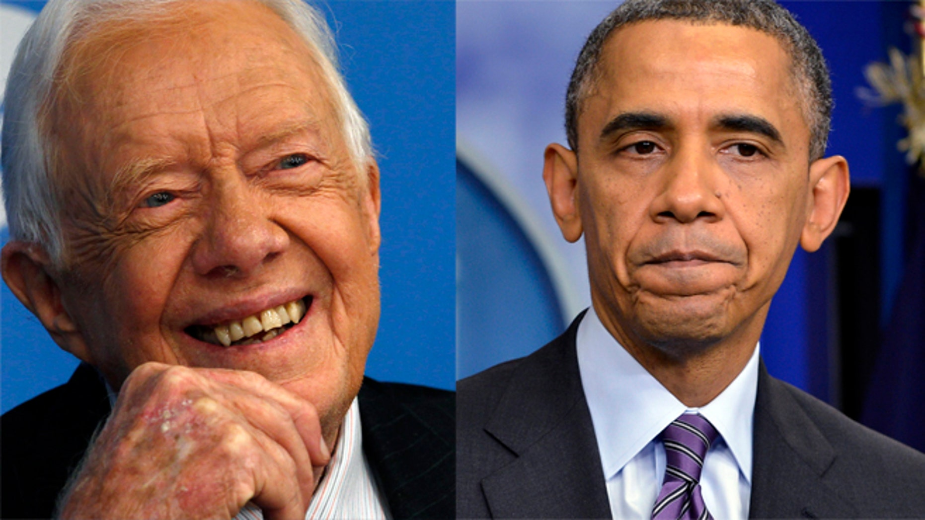 FILE: Former U.S. President Jimmy Carter, left, and President Barack Obama.