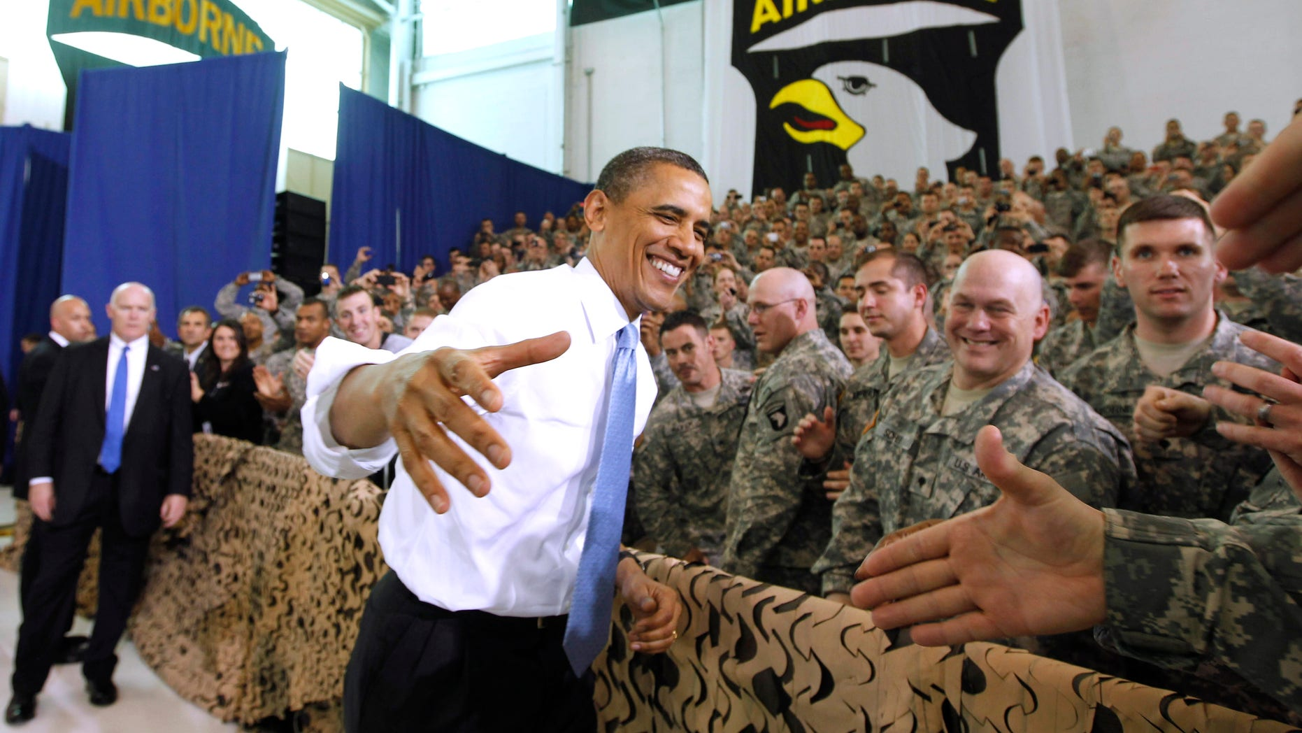 President Obama greets military personnel prior to addressing troops, Friday, May 6, 2011, at Fort Campbell, Ky. (AP)